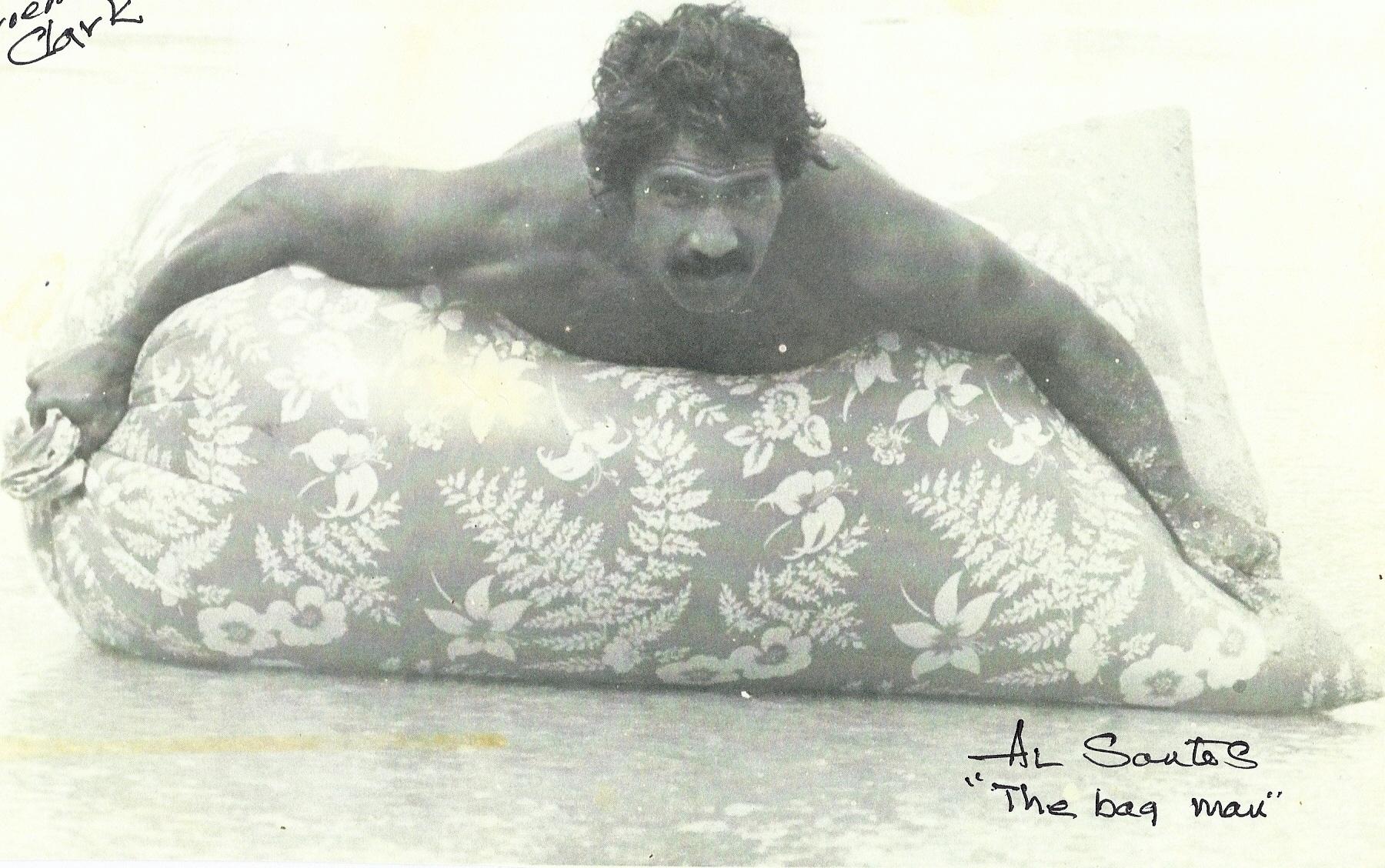Al Santos skimming. Sandy Beach, Oahu. 1968