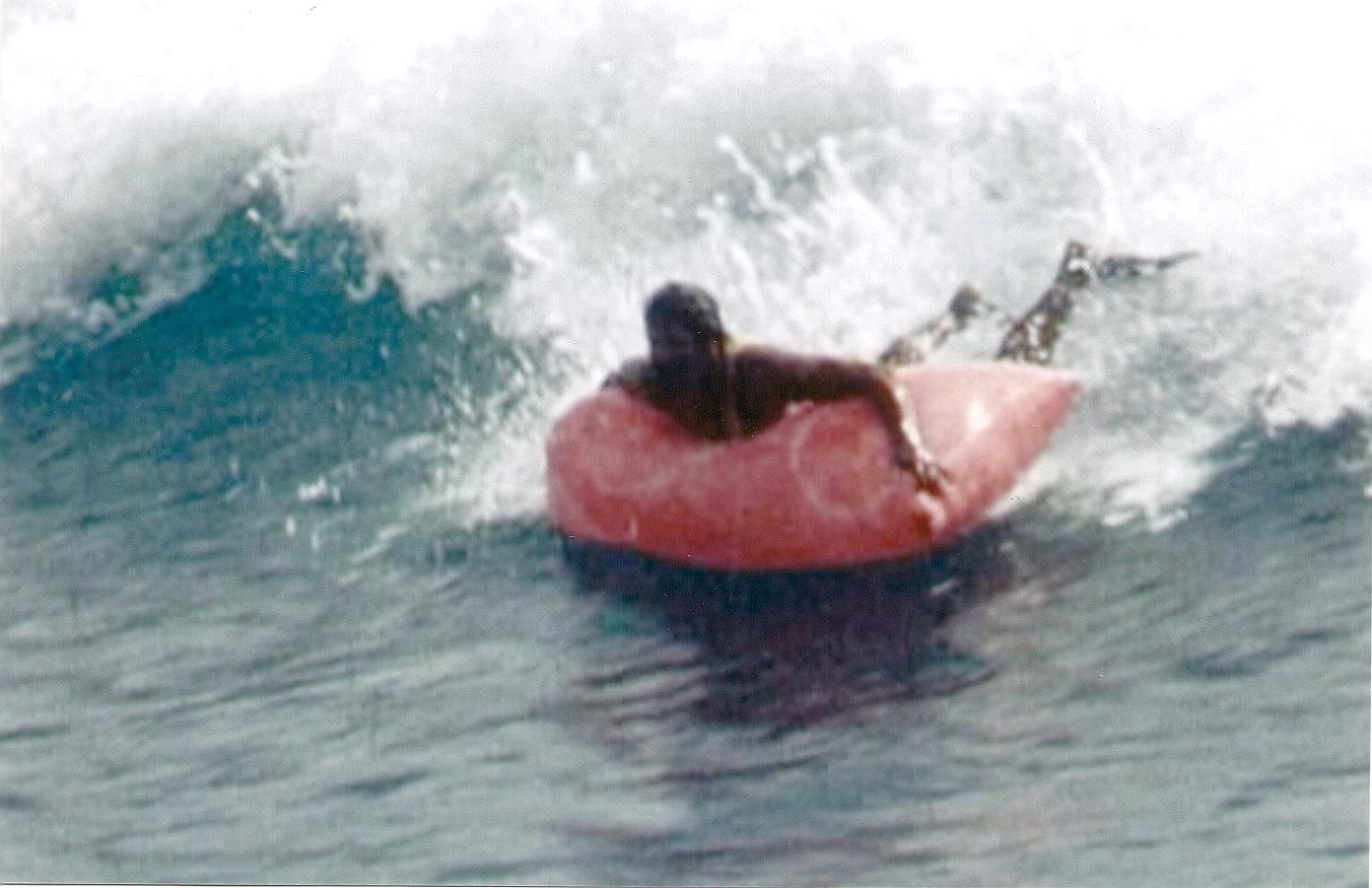 Al Santos surfing at Makaha, Oahu, in the 1973