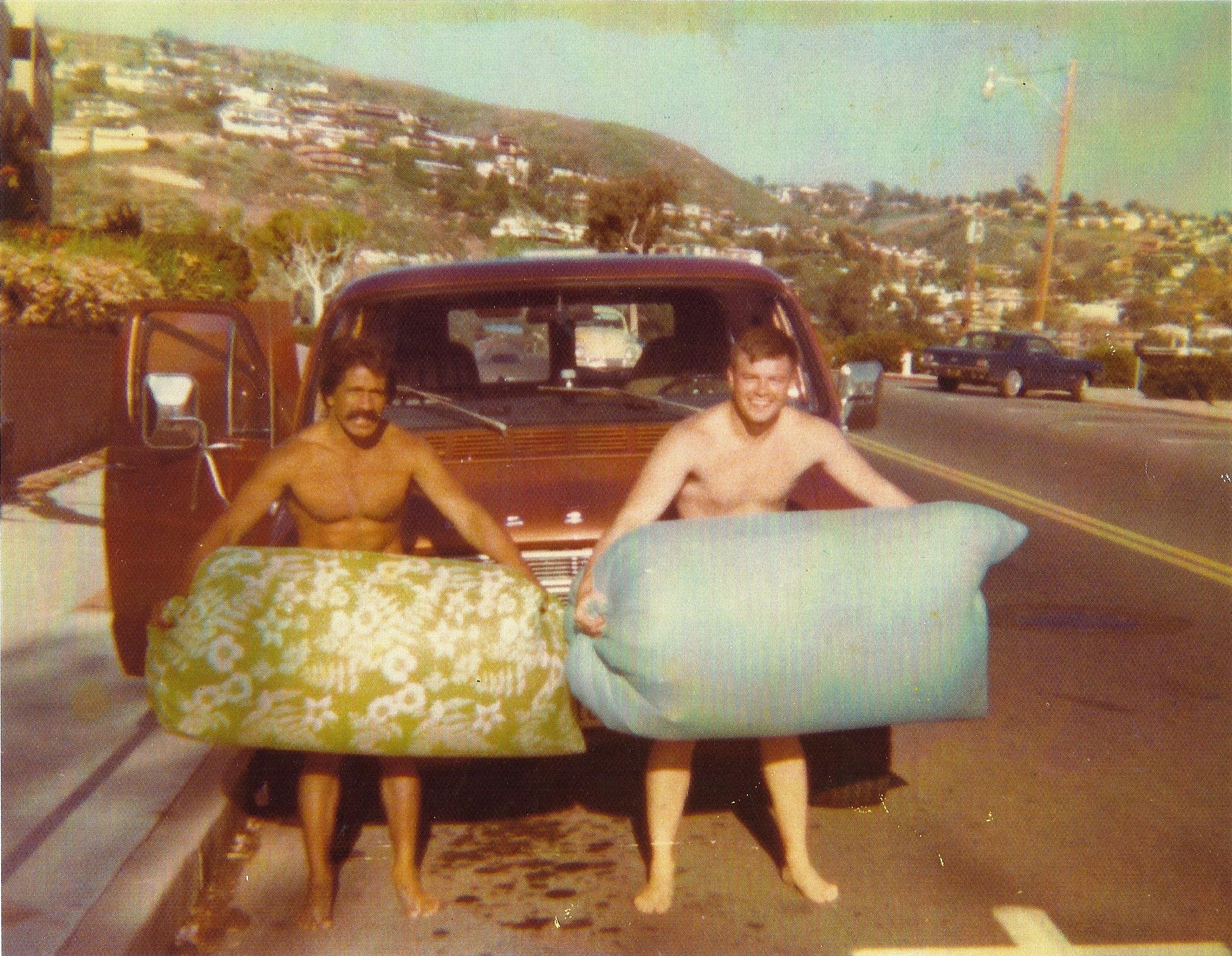 Al Santos and Rob Hauser. Laguna Beach, California. 1969