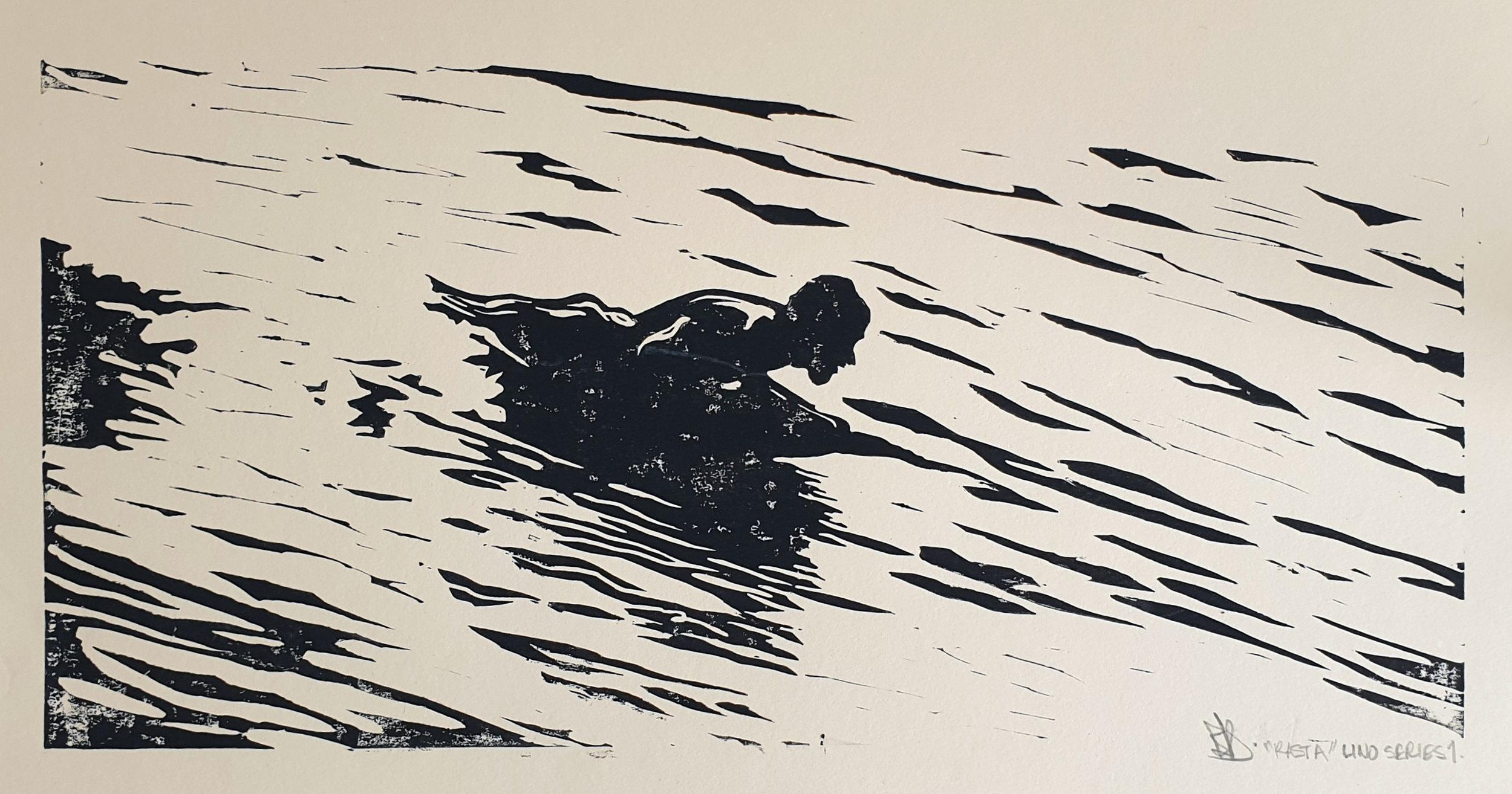 Bryn Dampney Rast Surfmat Lino Print