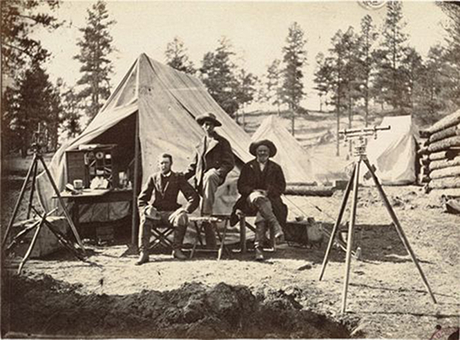 Alexander Gardner [Attributed to] ,  Engineer camp at the Zuni Pass, in the Sierra Madre, N.M., 975 miles west of Missouri River.  1867 (ca, taken) 1869 (ca, print)