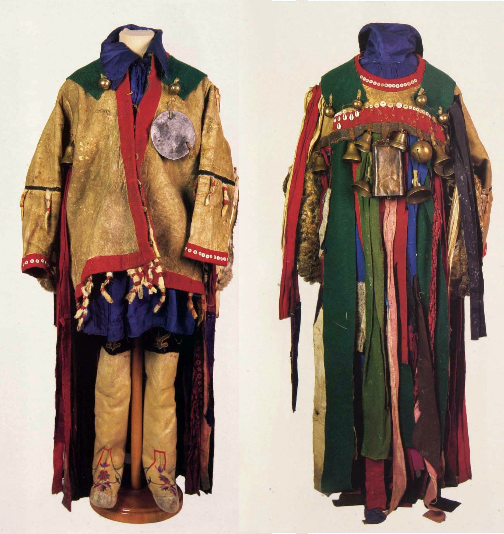 Shaman's costume, Eastern Siberia, Yenisei province, Minusinsk district, Khakass, Late 19th century/mid-20th century. Coat: fur, metal, reindeer suede, buttons, owl wings, owl feet, owl heads.  Trousers: cotton, silk. Shoes: lamb fur, silk threads, velveteen, leather.