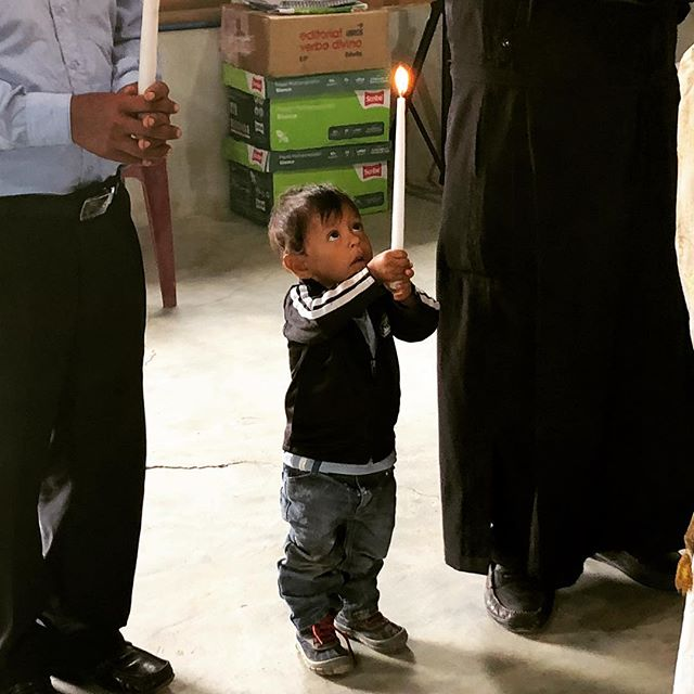"""""""Let the little children come to me, and do not hinder them, for the kingdom of heaven belongs to such as these."""" (Mat 19:14) A child participates with great devotion in the Divine Liturgy in Guatemala, on Sept 1st, 2018."""