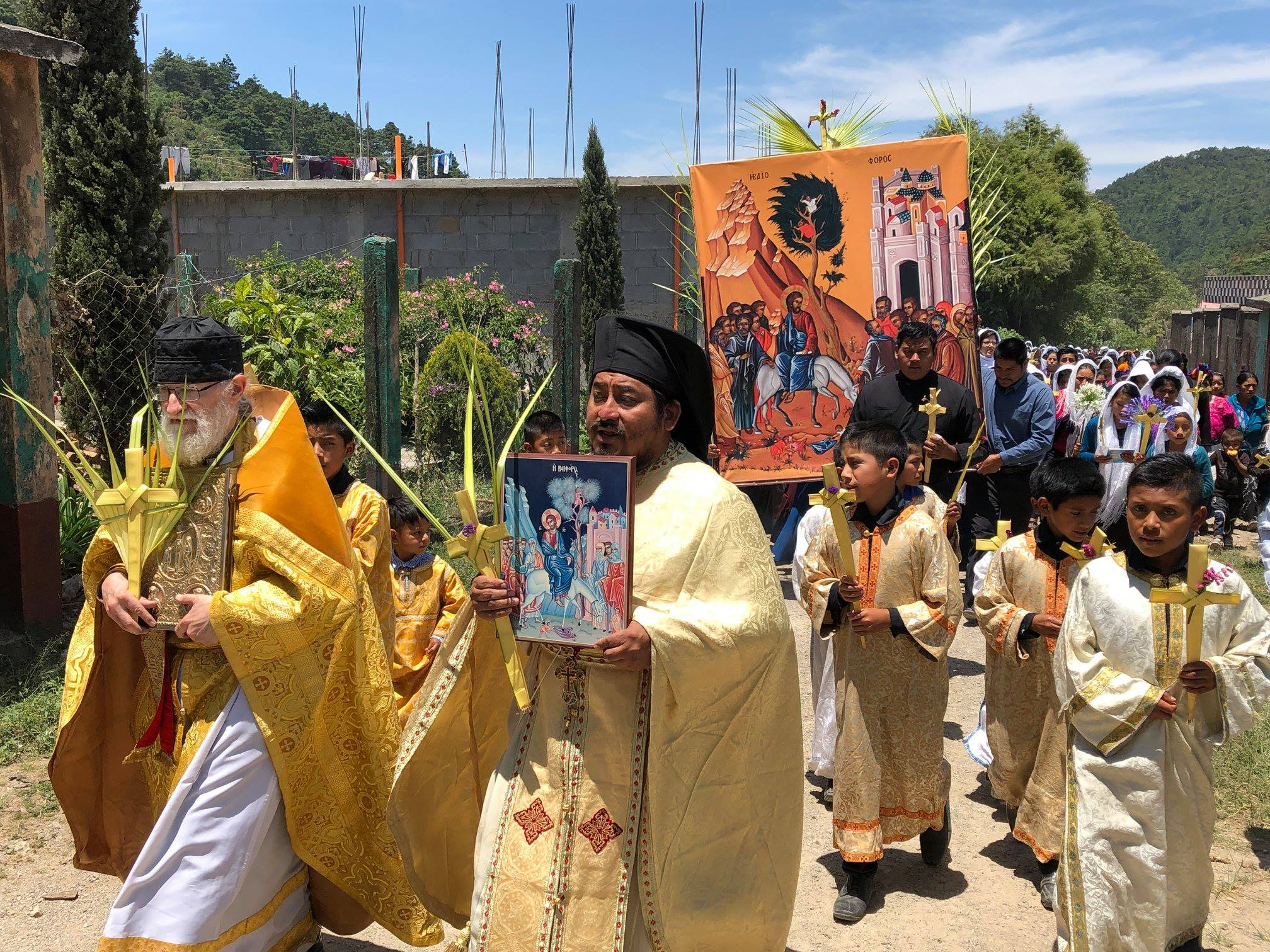 Procession on Palm Sunday through the village of Aguacate