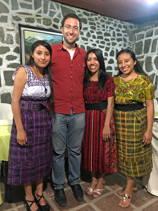 A recent photo of Juanita fully recovered, standing with me and with one of her closest friends (on the far right) and her sister Mati (far left)