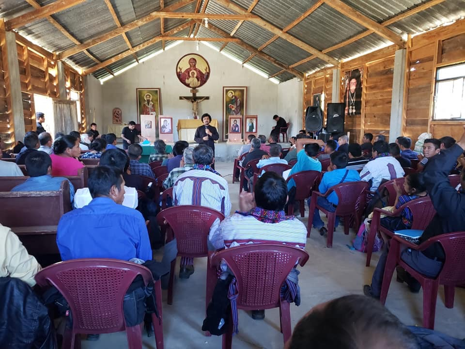 Fr. Alexios speaking at the most recent retreat in Huehuetenango. The theme was on preaching. (Photo courtesy: V. Rev. Fr. Evangelos)