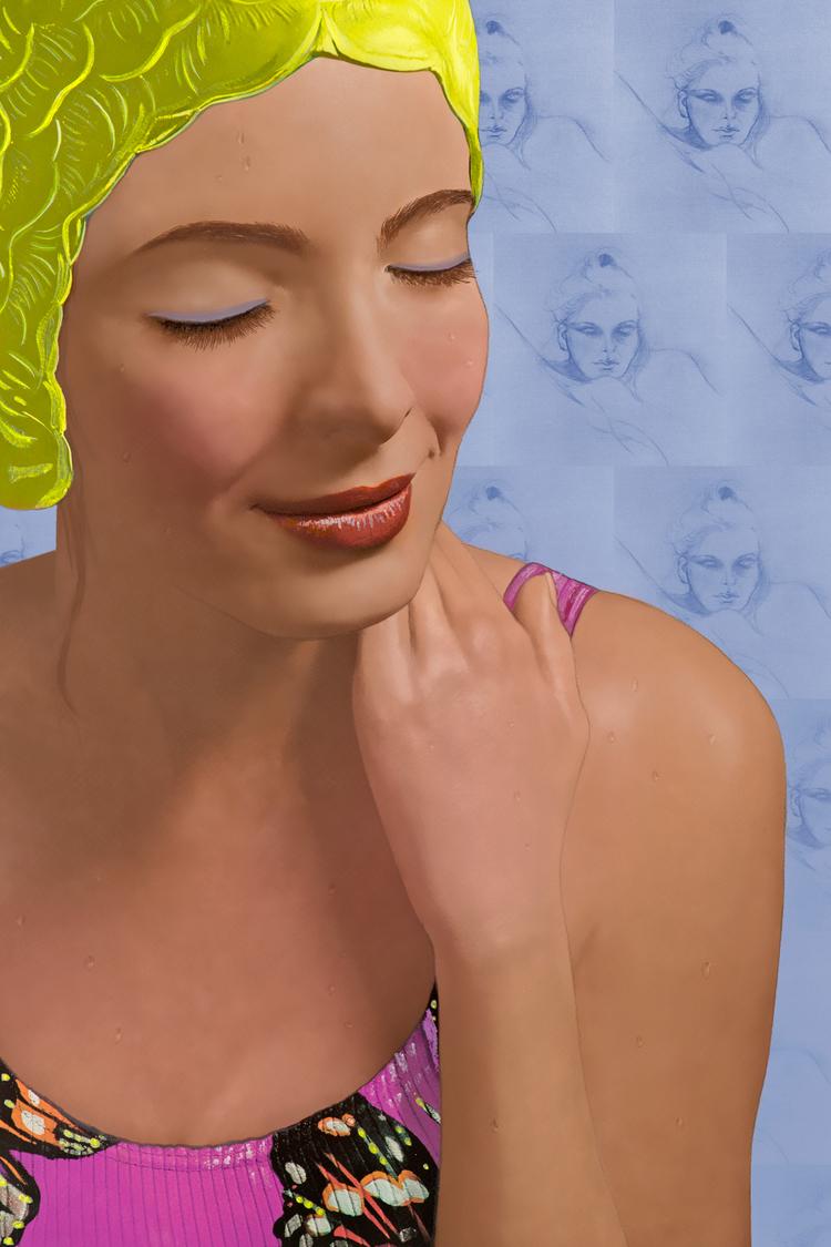 """""""Capri"""" , 2014,Giclée with Silkscreen, 20 x 30 inches"""