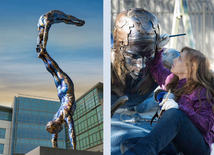 L- 'Double Diver' , 2014- bronze with patina finish; R- Carole Feuerman perfecting the 'Double Diver'