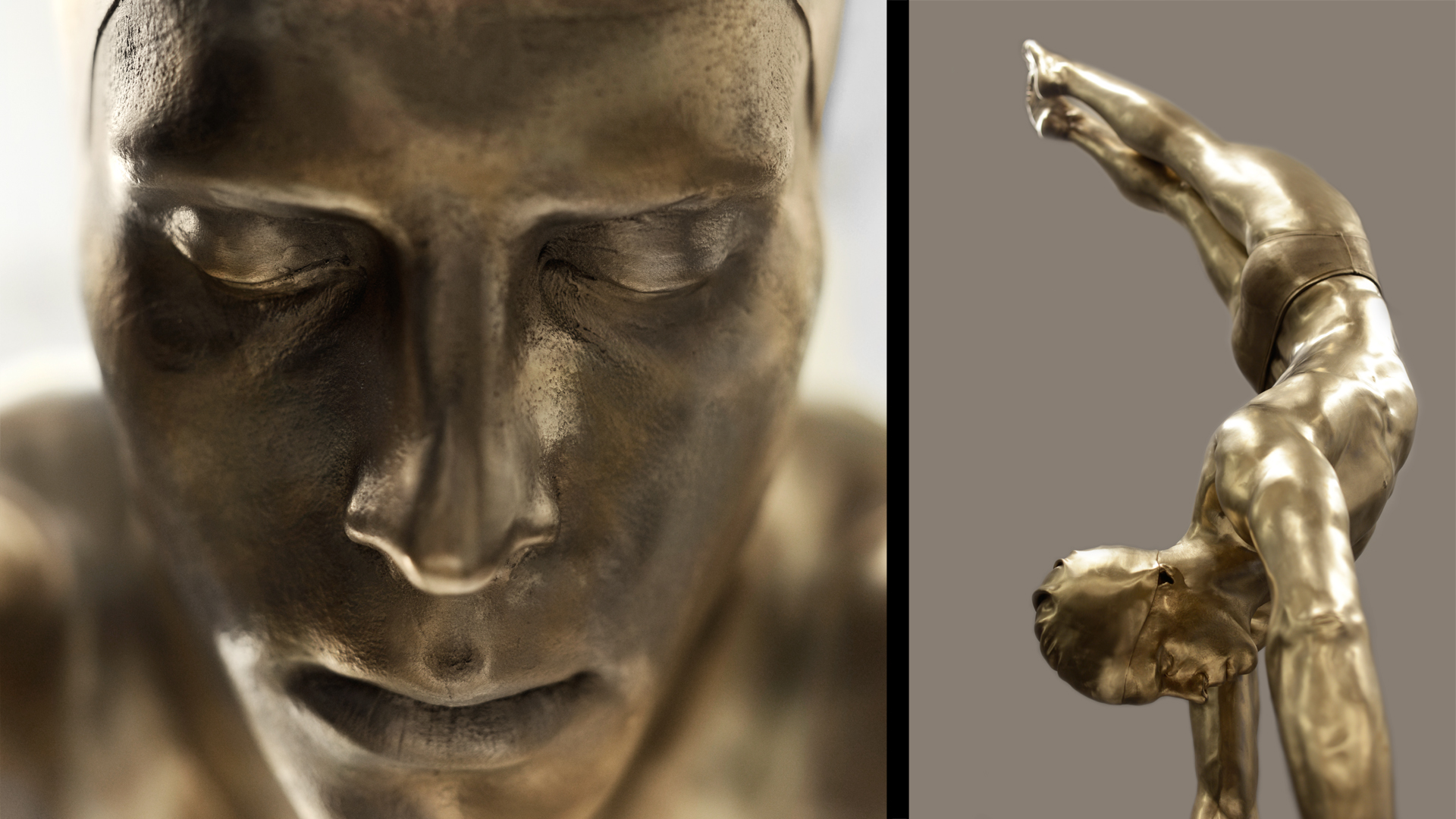 'Diver' , 2014 -Bronze, 77 x 25 x 11 inches, Collection of the artist