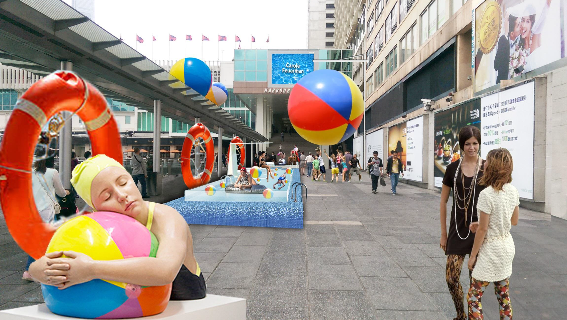 Feuerman's monumental sculpture   Brooke With Beach Ball