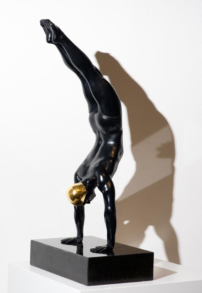 Miniature Diver   , 2014,Bronze with 24 karat gold leaf, 24 x 8 x 6 inches.
