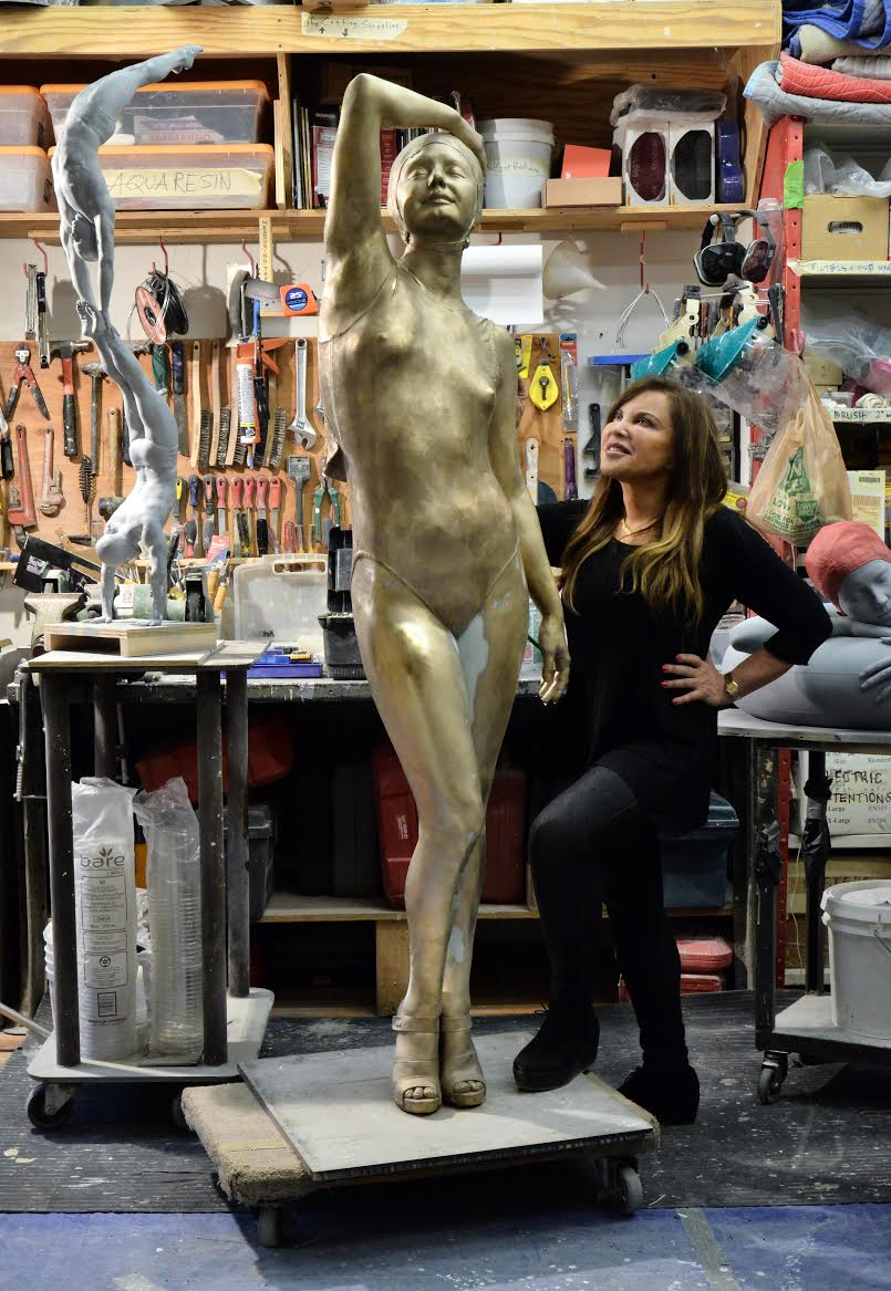Christina  , 2014. Oil on Bronze. 72 x 19 x 14 inches.