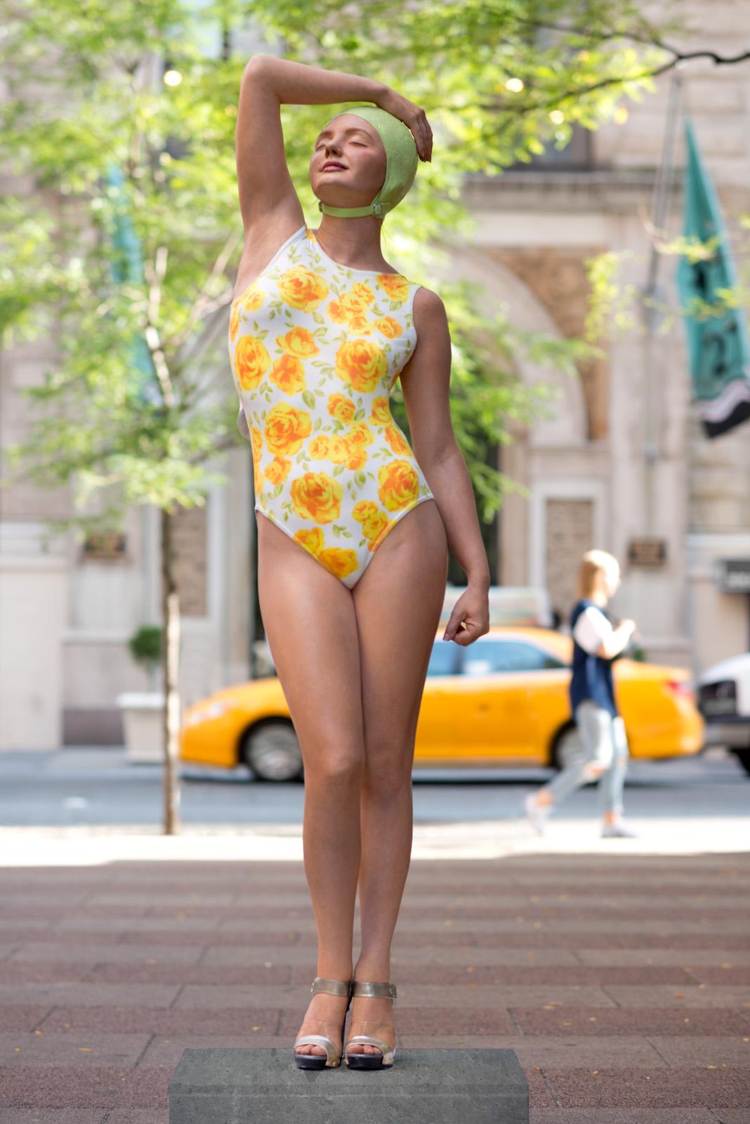 "Christina, New York City, 2014, Patinated Bronze. 72"" x 19"" x 14"""