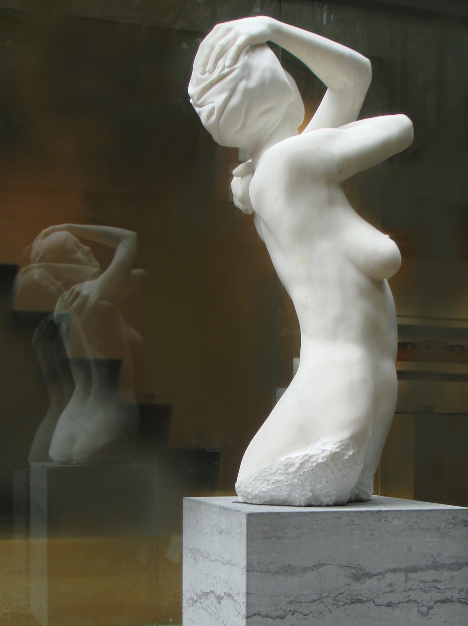 "Monumental Shower, New York City, 2009. Marble, 51"" x 22"" x 23"""