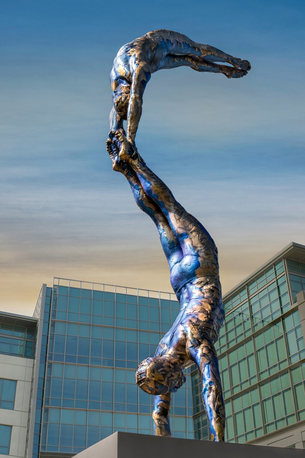 """Monumental Double Diver, Owned by City of Sunnyvale CA, 2012-2014, Bronze, 312"""" x 44"""" x 42"""", Unique"""