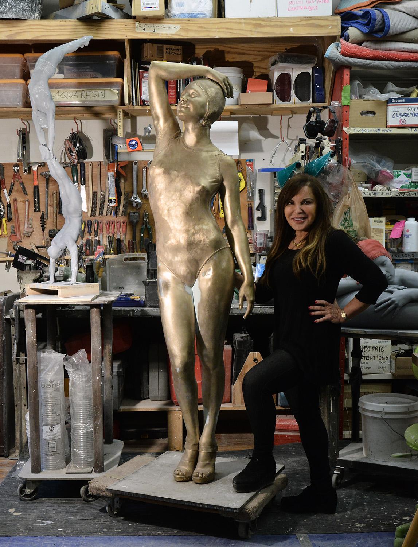 "Christina, 2013, New York City, Patinated Bronze, 72"" x 19"" x 14"""