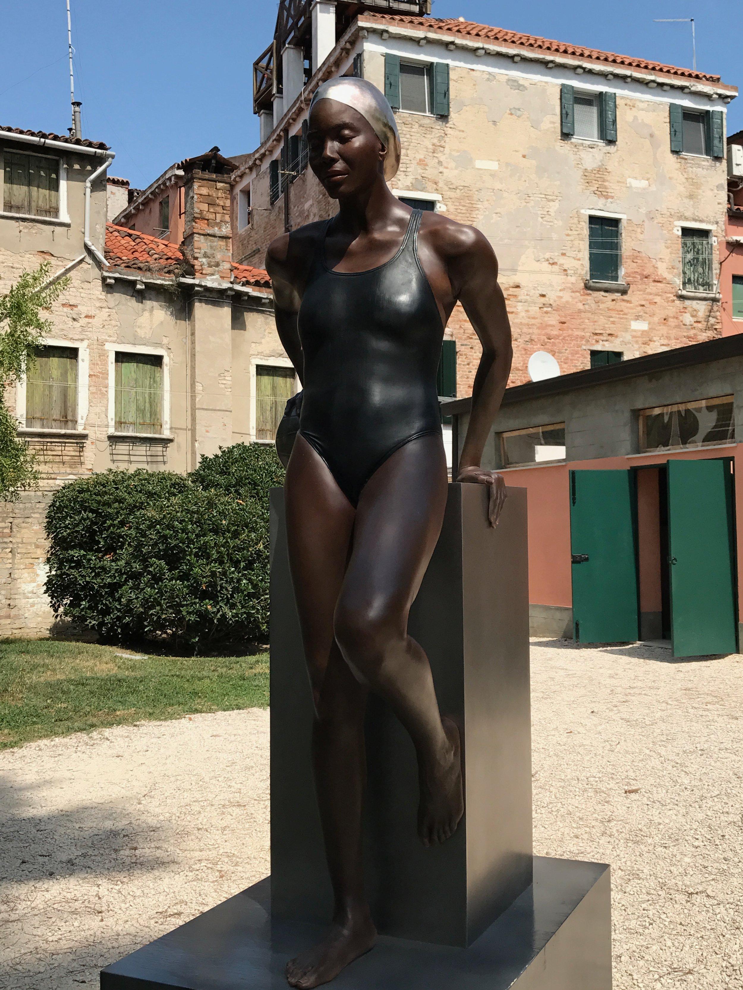 "Yaima & The Ball, Bronze, 2016, Giardini Marineressa, Venice, Italy, 70"" x 28"" x 39"""