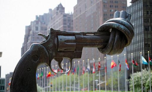 Non-Violence  , sculpture by   Carl Fredrik Reuterswärd, 1985.
