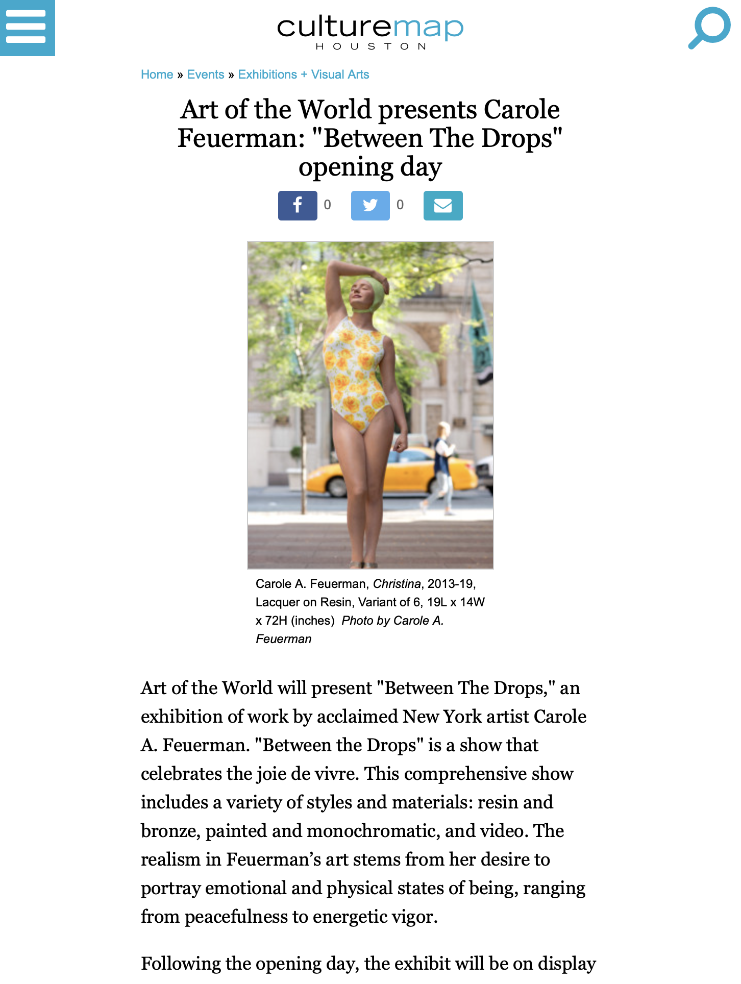 "Art of the World presents Carole Feuerman: ""Between The Drops"" opening day"
