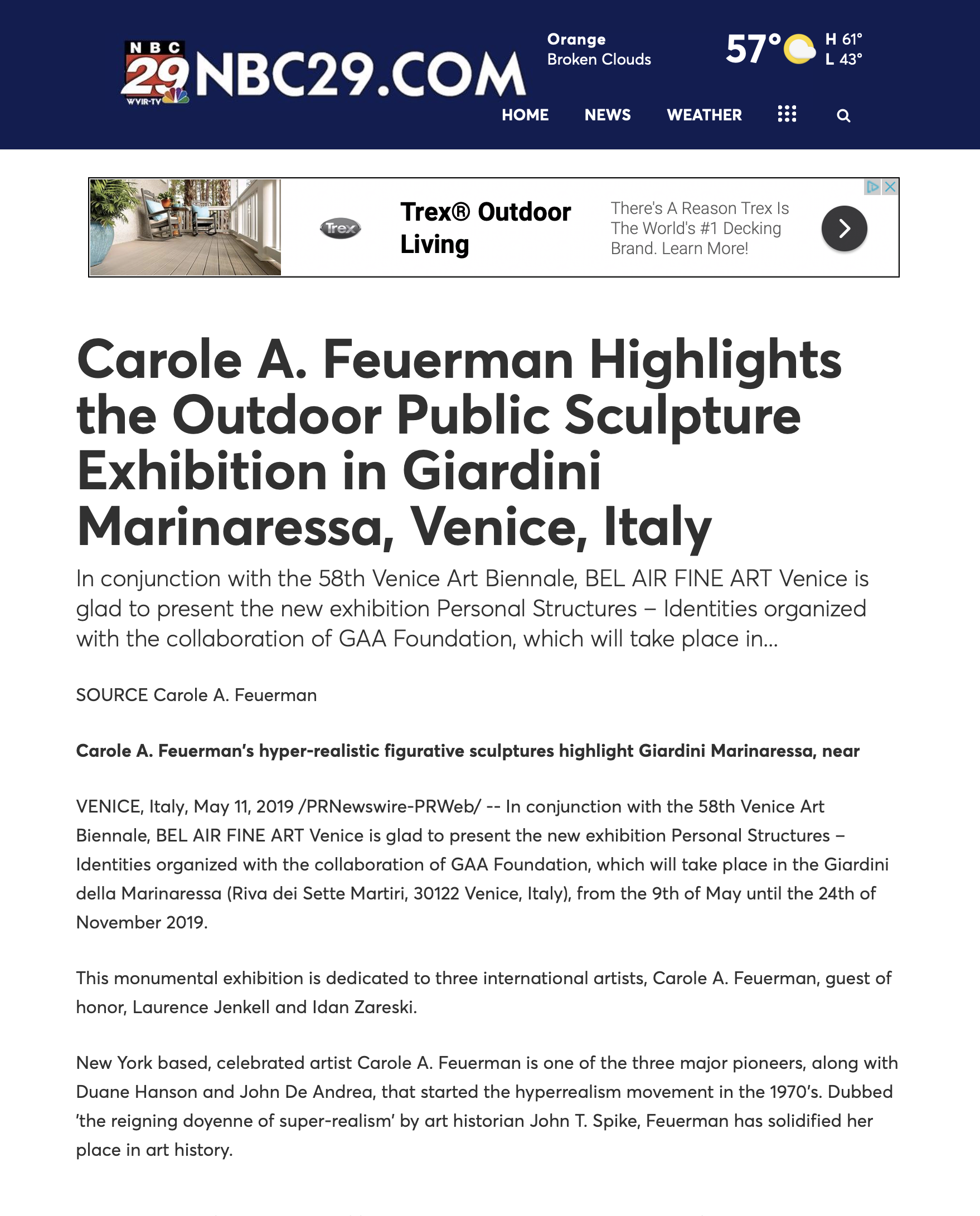 Carole A. Feuerman Highlights the Outdoor Public Sculpture Exhibition in Giardini Marinaressa, Venice, Italy