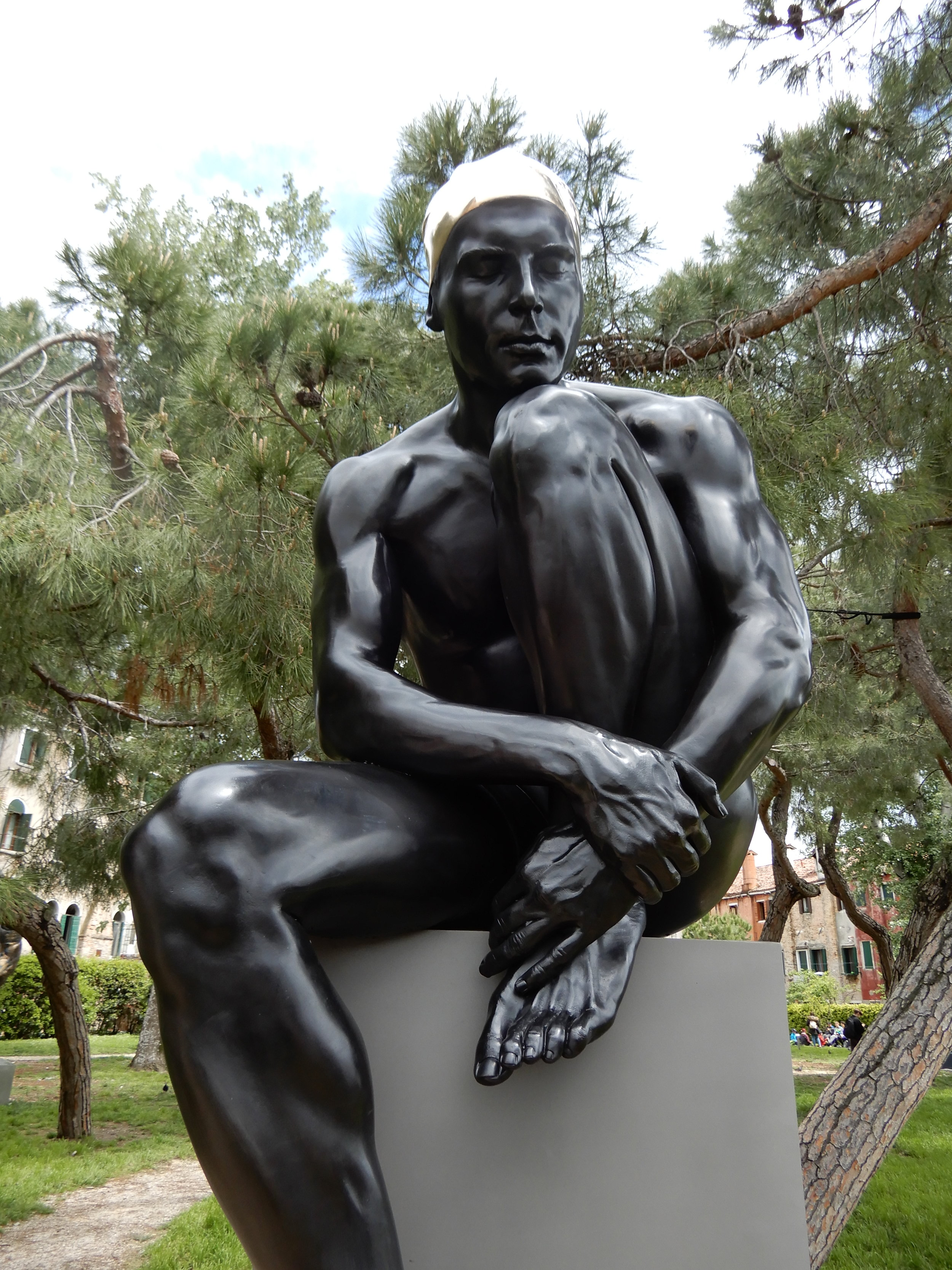"The Thinker, 2019, Bronze, 71"" x 32"" x 32"""