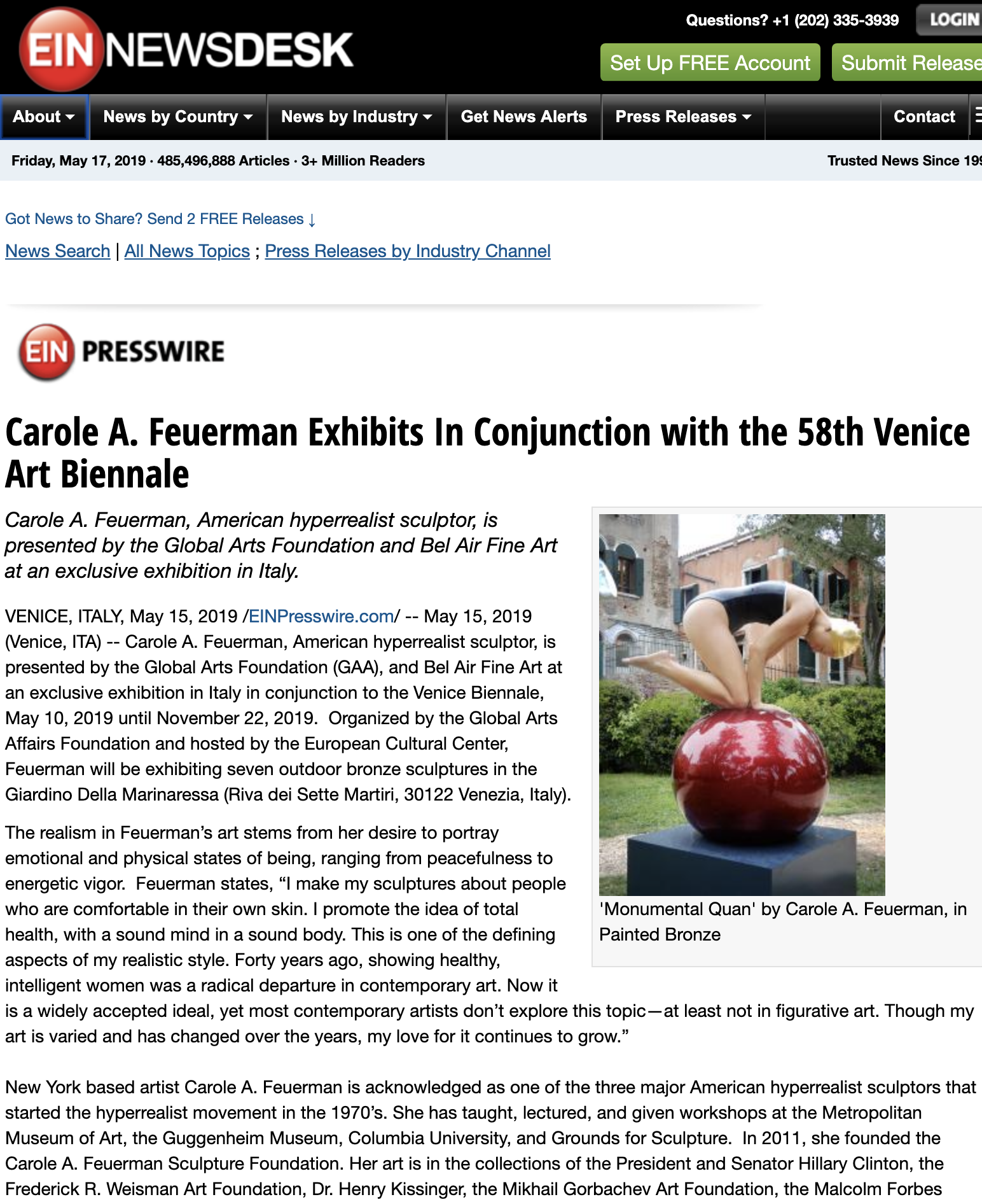 Carole A. Feuerman Exhibits In Conjunction with the 58th Venice Art Biennale