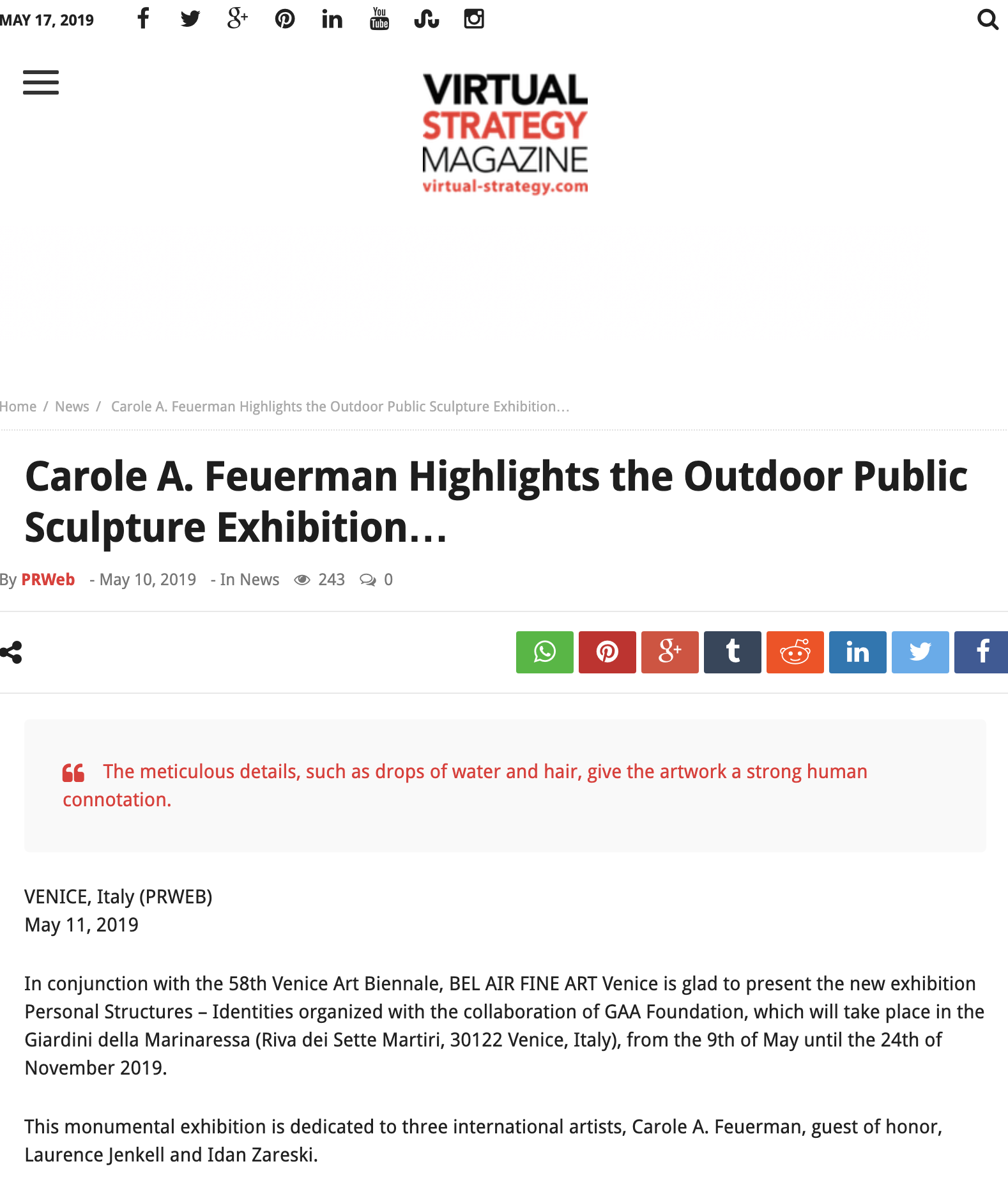 Carole A. Feuerman Highlights the Outdoor Public Sculpture Exhibition