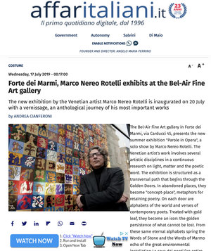 Forte dei Marmi, Marco Nereo Rotelli exhibits at the Bel-Air Fine Art gallery