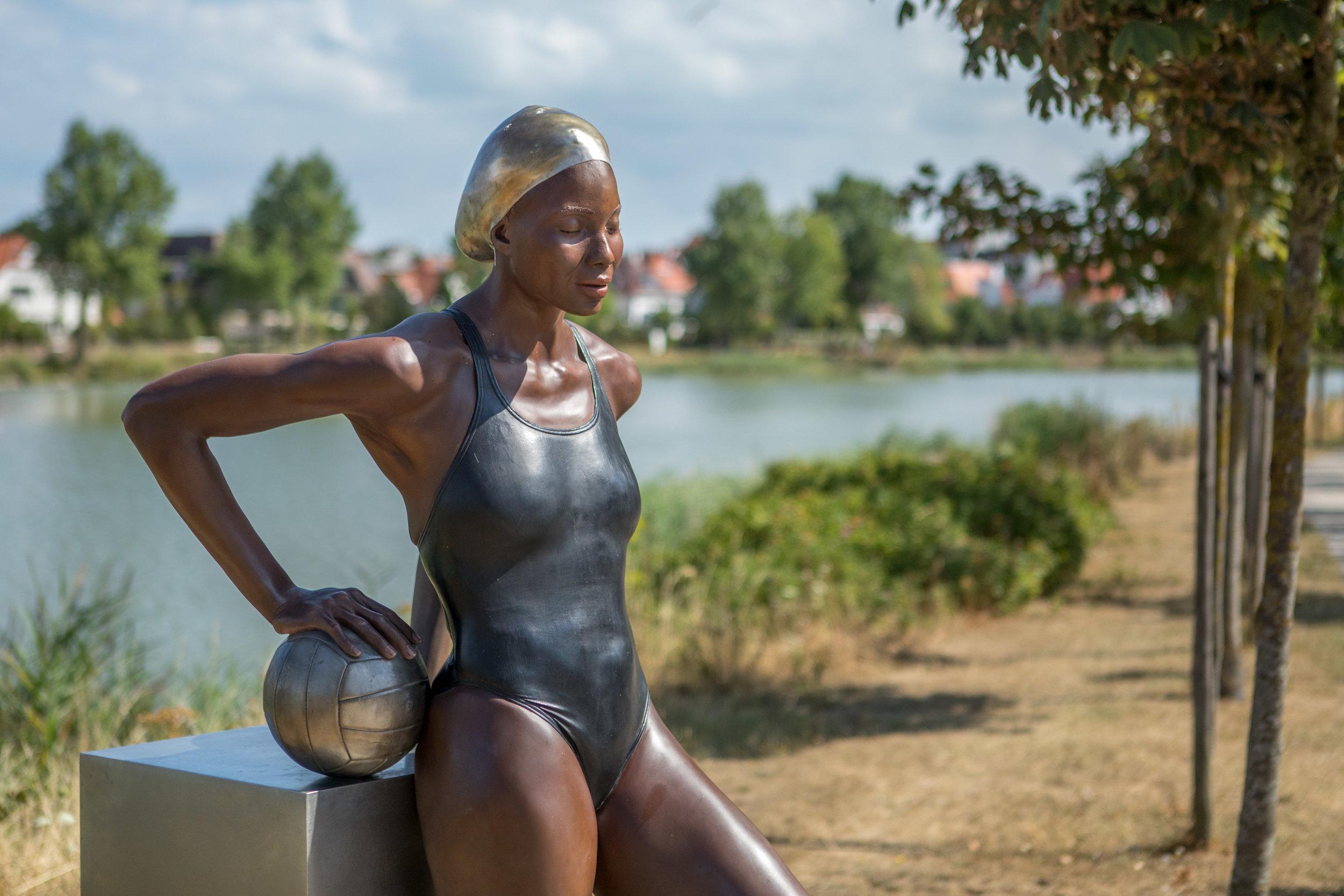 Yaima and the Ball, 2016, Bronze, 70 x 28 x 39 in (177.80 x 71.12 x 99.06 cm) Sculpture Link, Knokke-Heist, Belgium