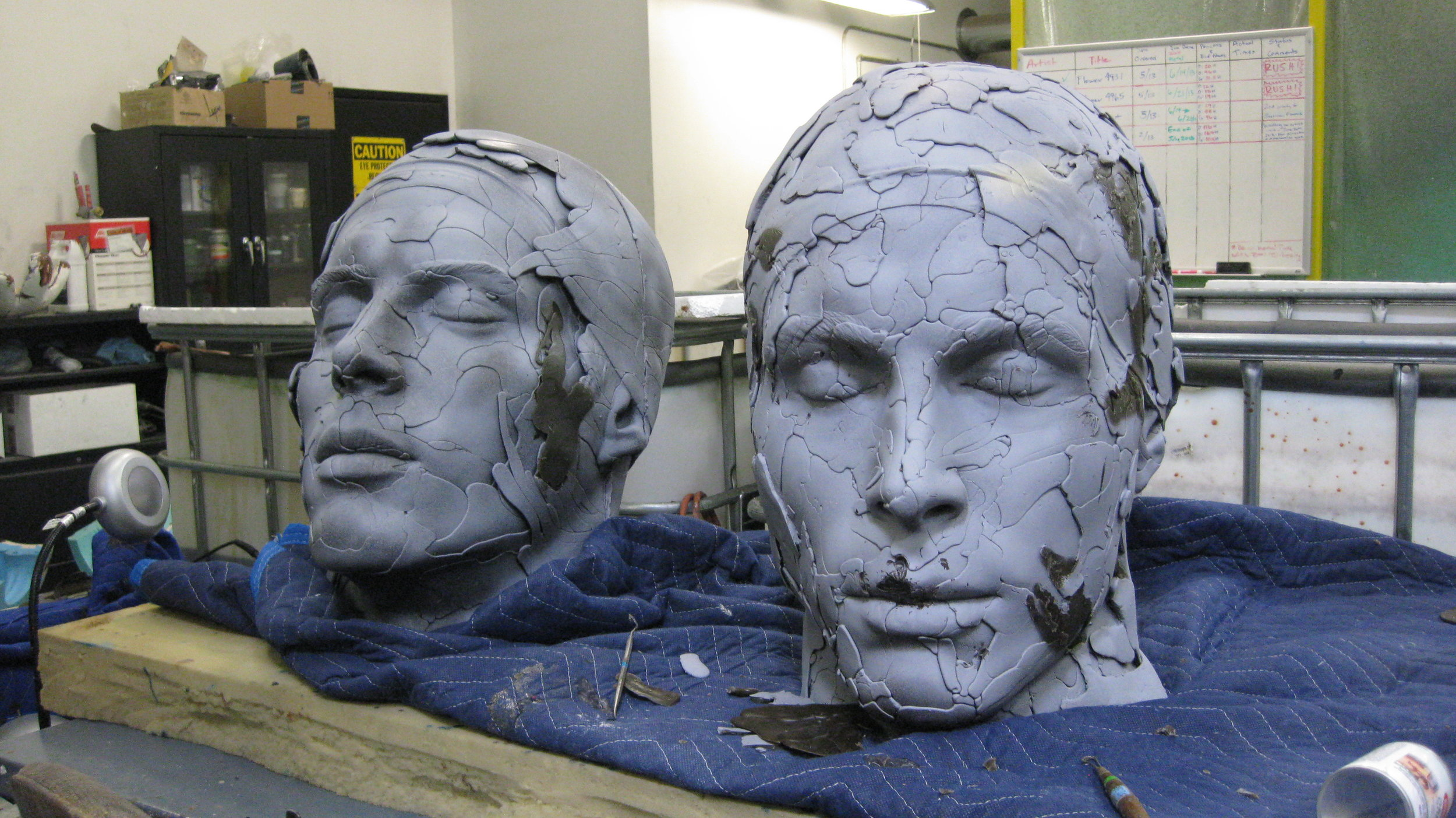 Working on The Faces For The Double Diver