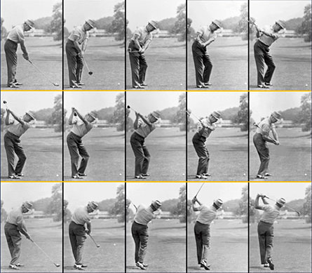 "Here's Sam Snead taking the handle ""around the corner""...."