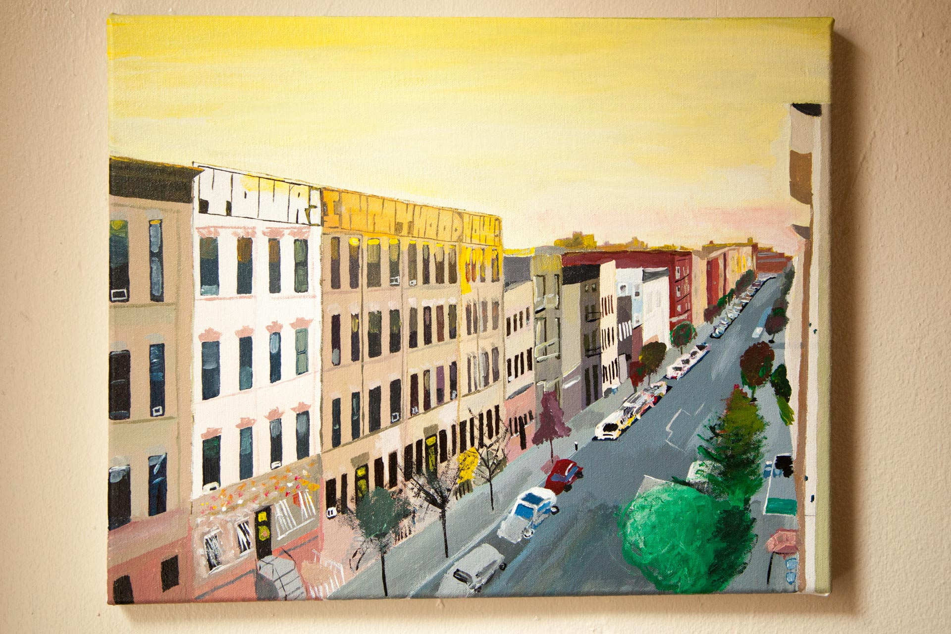 """View of Jefferson St.,Acrylic on Canvas, 16""""x20"""", 2015"""
