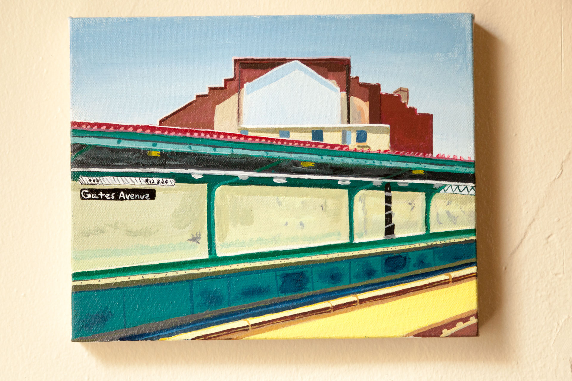 "Gates Ave Subway Station, Acrylic on Canvas, 8""x10"", 2017"