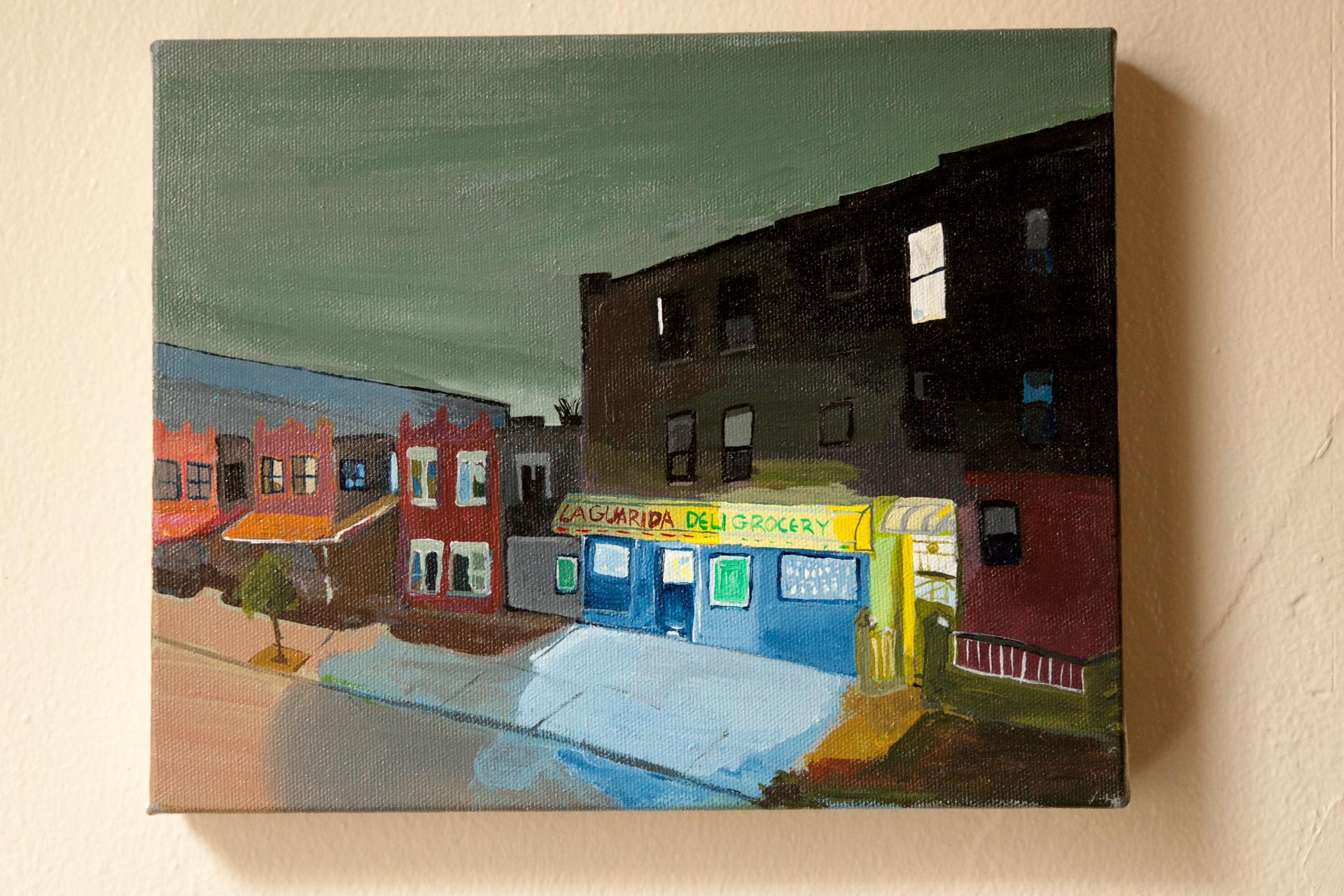 "New Years Eve, Linden St., Acrylic on Canvas, 8""x10"", 2016"