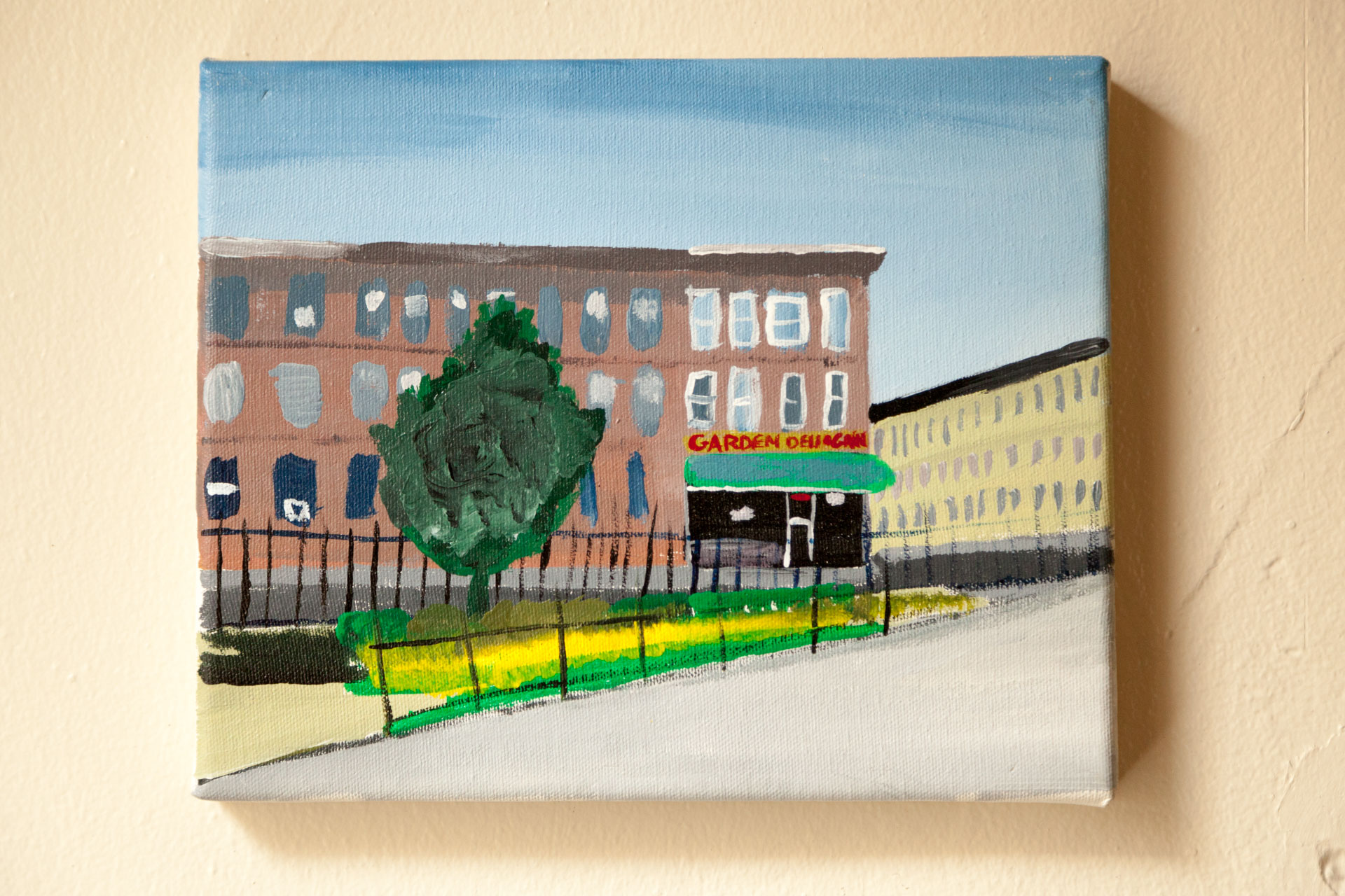 "Garden Deli from Maria Hernandez Park, Starr St., Acrylic on Canvas, 8""x10"", 2015"