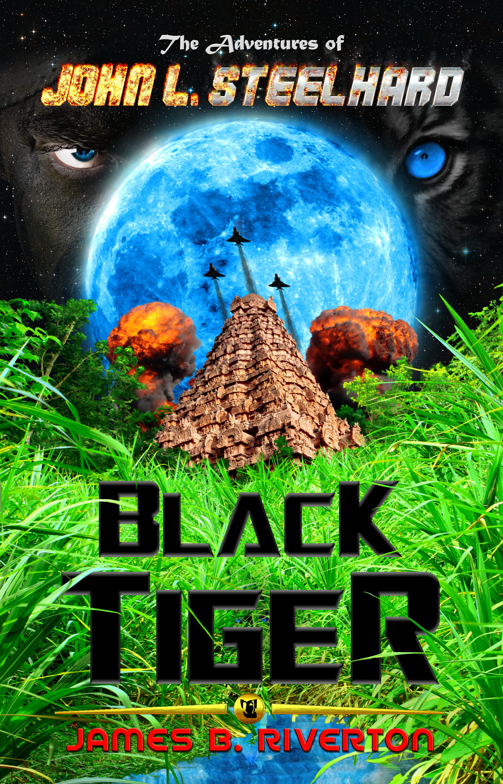 Official Book Cover -  The Adventures of John L. Steelhard:  Black Tiger    Stars provided by:  ESA/Digitized Sky Survey 2. Acknowledgement: Davide De Martin