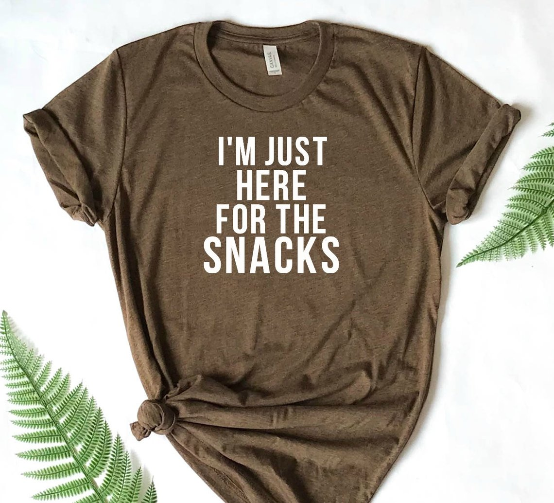 Football shirt for superbowl - just here for the snacks