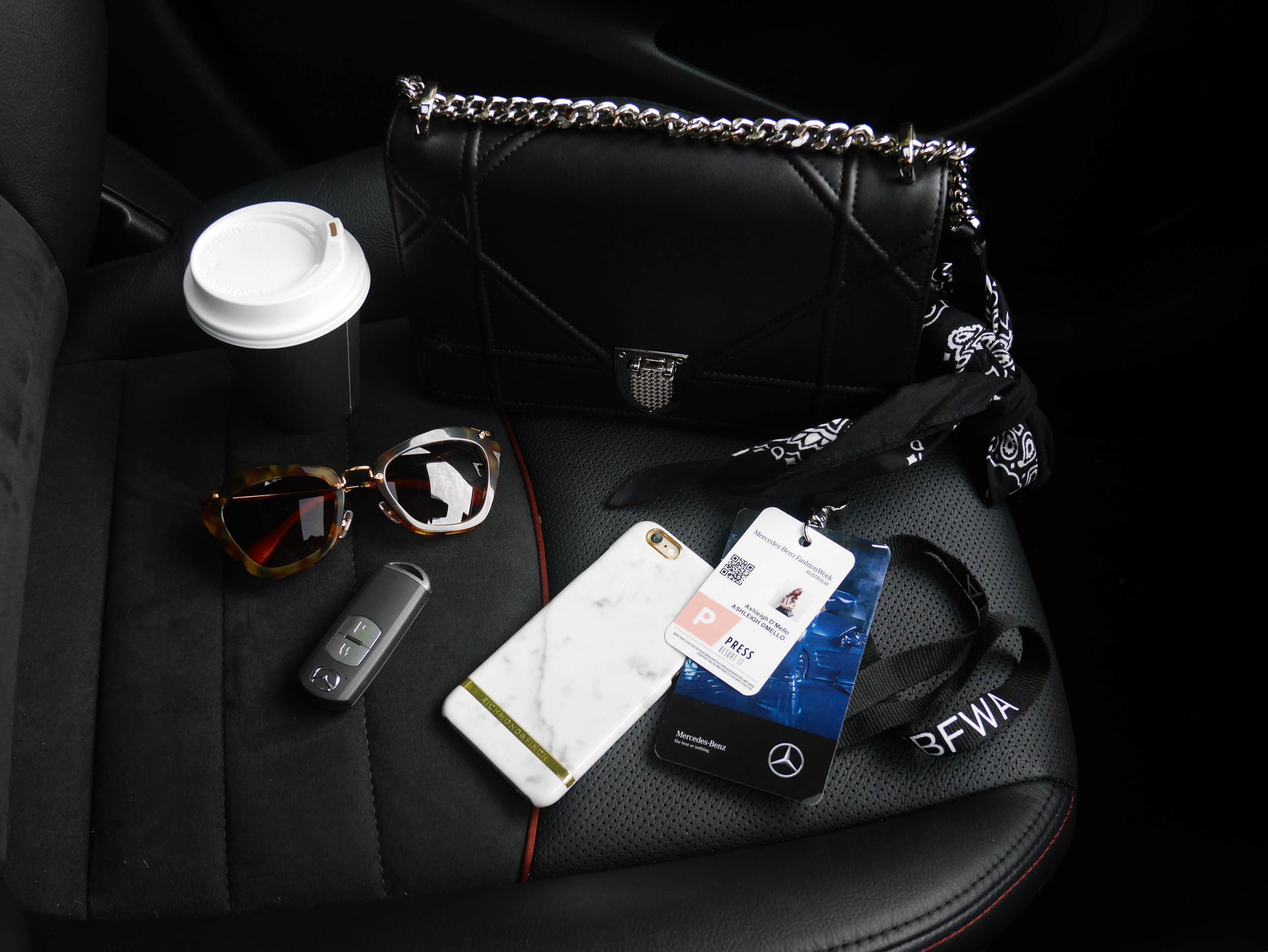 On the go essentials - featuring Miu Miu sunglasses from Sunglass Hut and the Mazda CX3