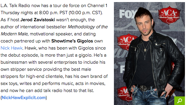 Read the rest of the interview below...   http://www.examiner.com/article/modern-male-movement-radio-gains-gigolo