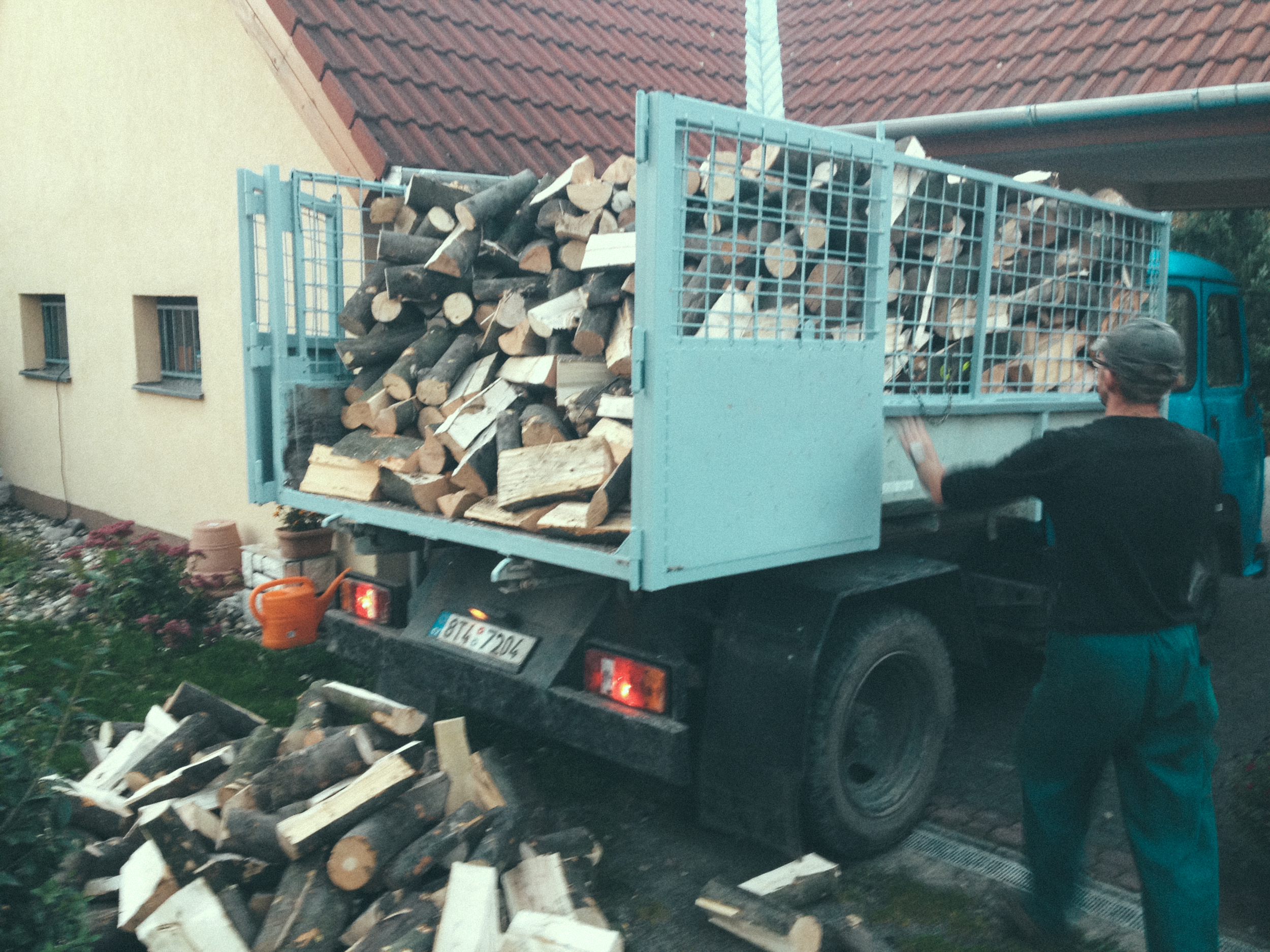 Firewood being delivered for the winter. This was fun.