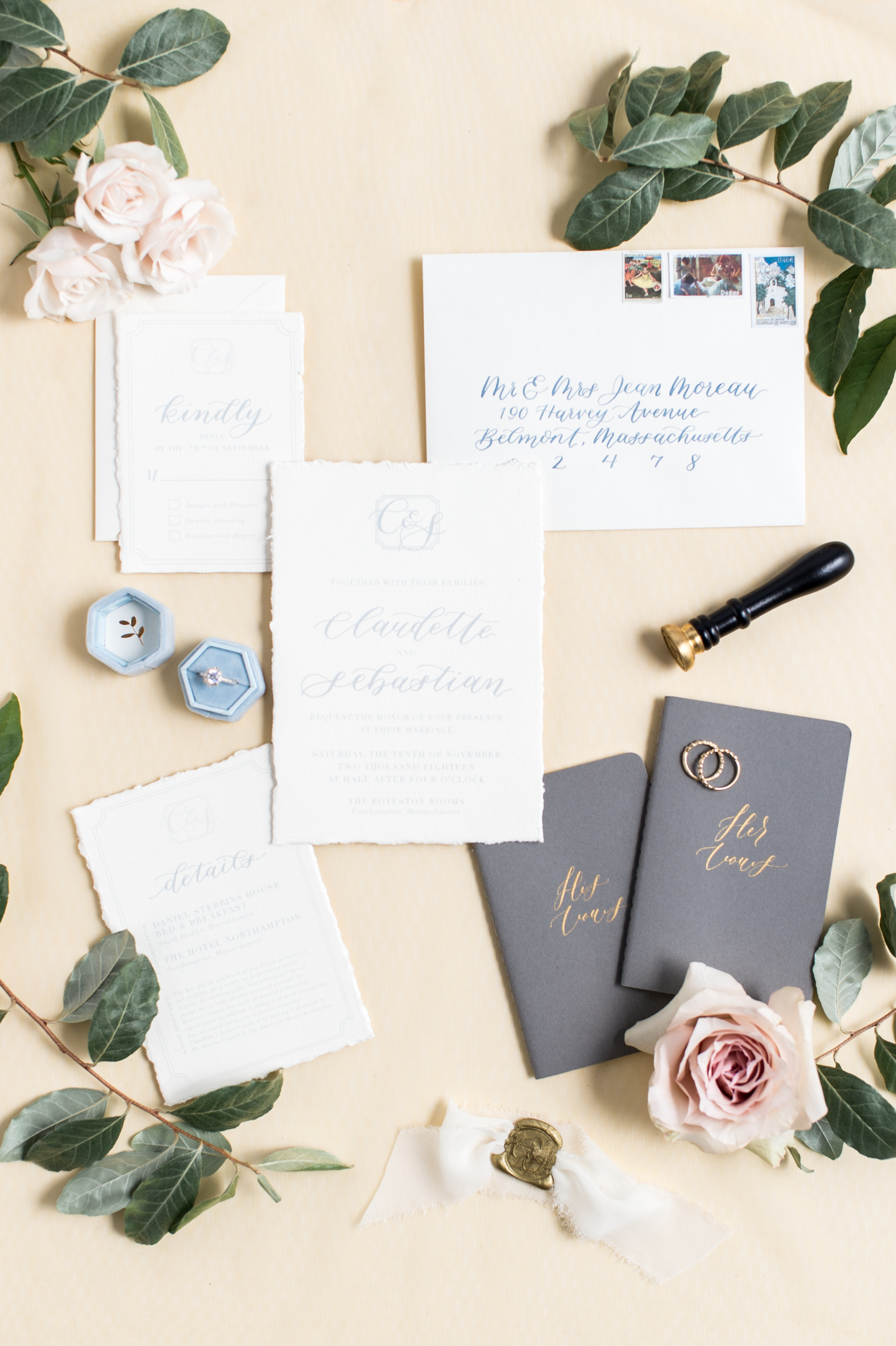 Styling by Urban Soiree Boston, Paper and Calligraphy by Haley Tyson Design, Rings by e. scott originals