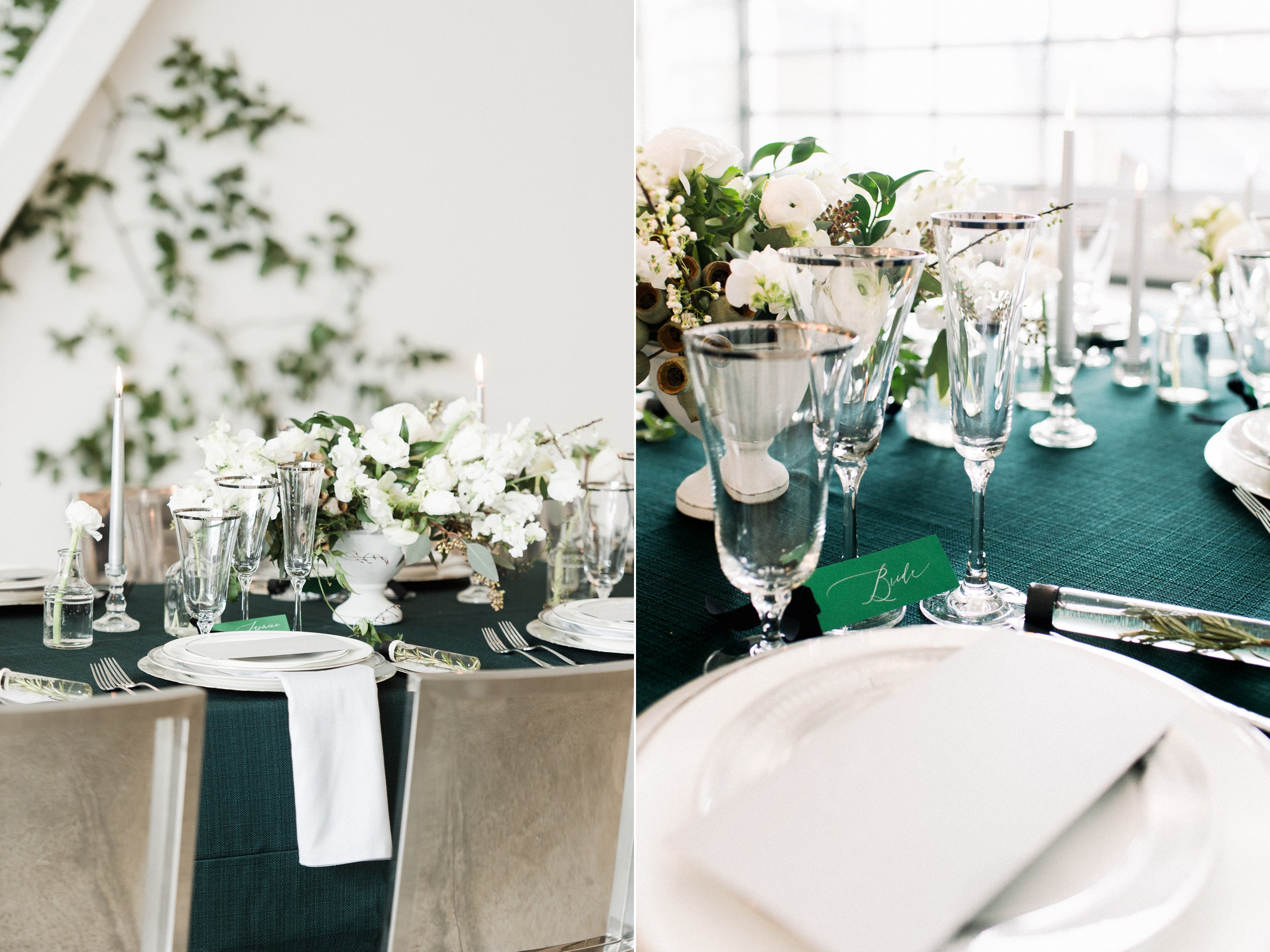 Artists for humanity epicenter wedding green botanical wedding inspiration ivy feature wall modern glamour candles white floral tablescape with velvet textures