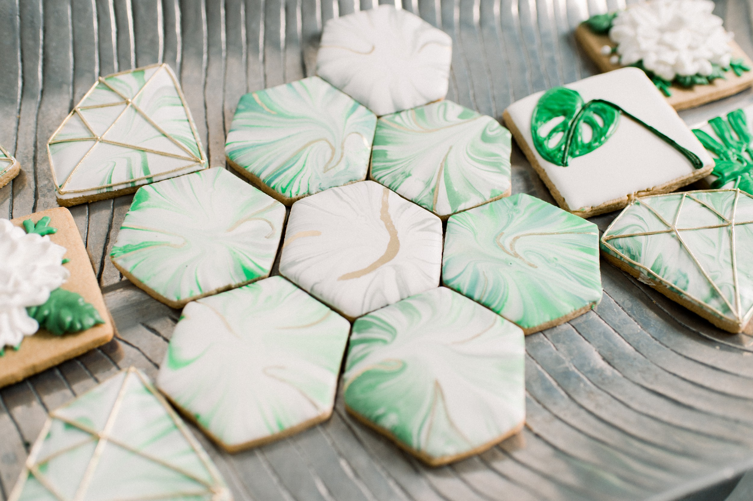 marble and botanical sugar cookies by dolce vida baking company at artists for humanity epicenter boston wedding venue inspiration