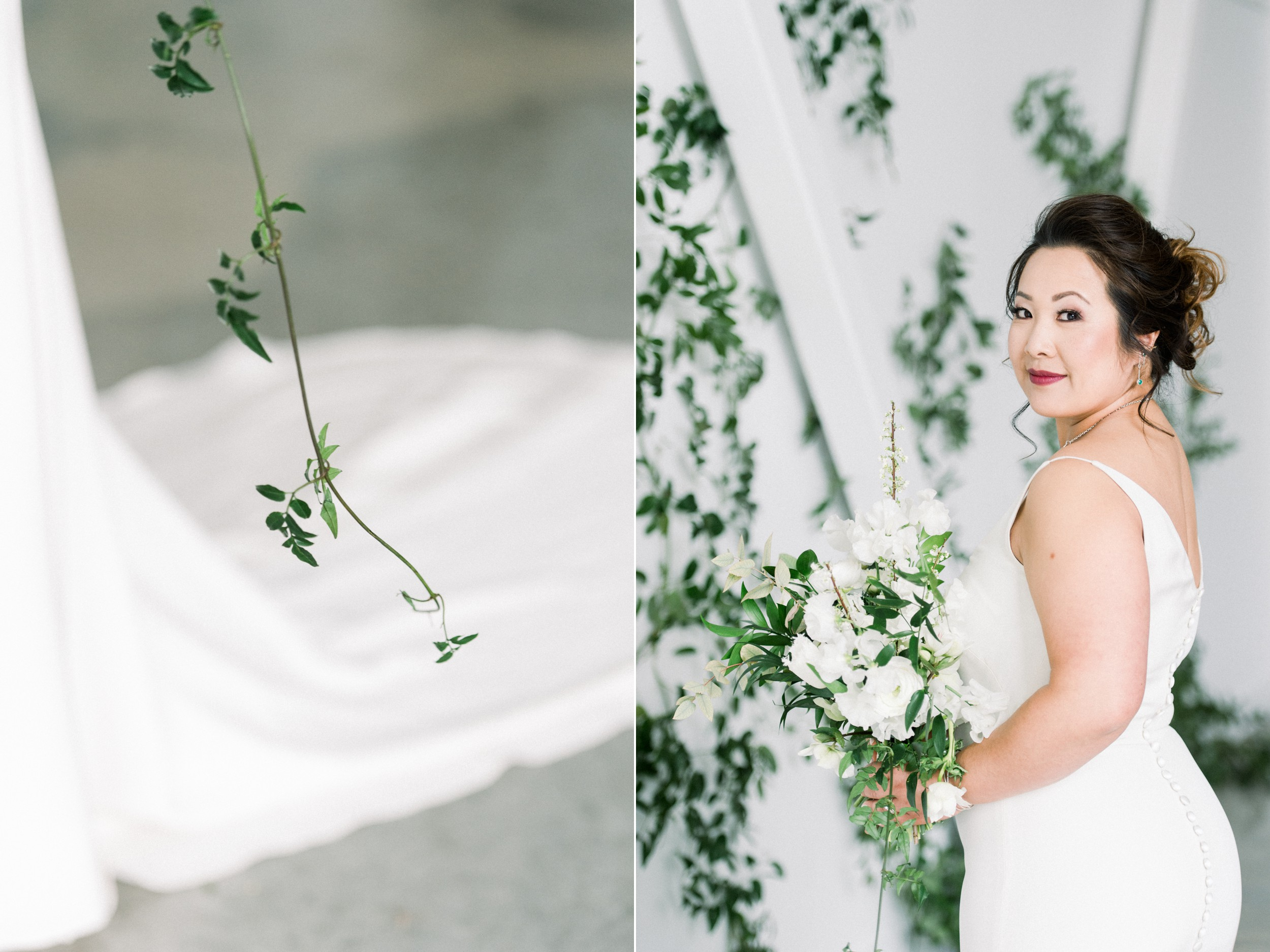 Artists for humanity epicenter wedding | Boston wedding | bridal hair and makeup | ivy feature wall | green botanical wedding inspiration | bridal style | Jann Marie Wedding Dress