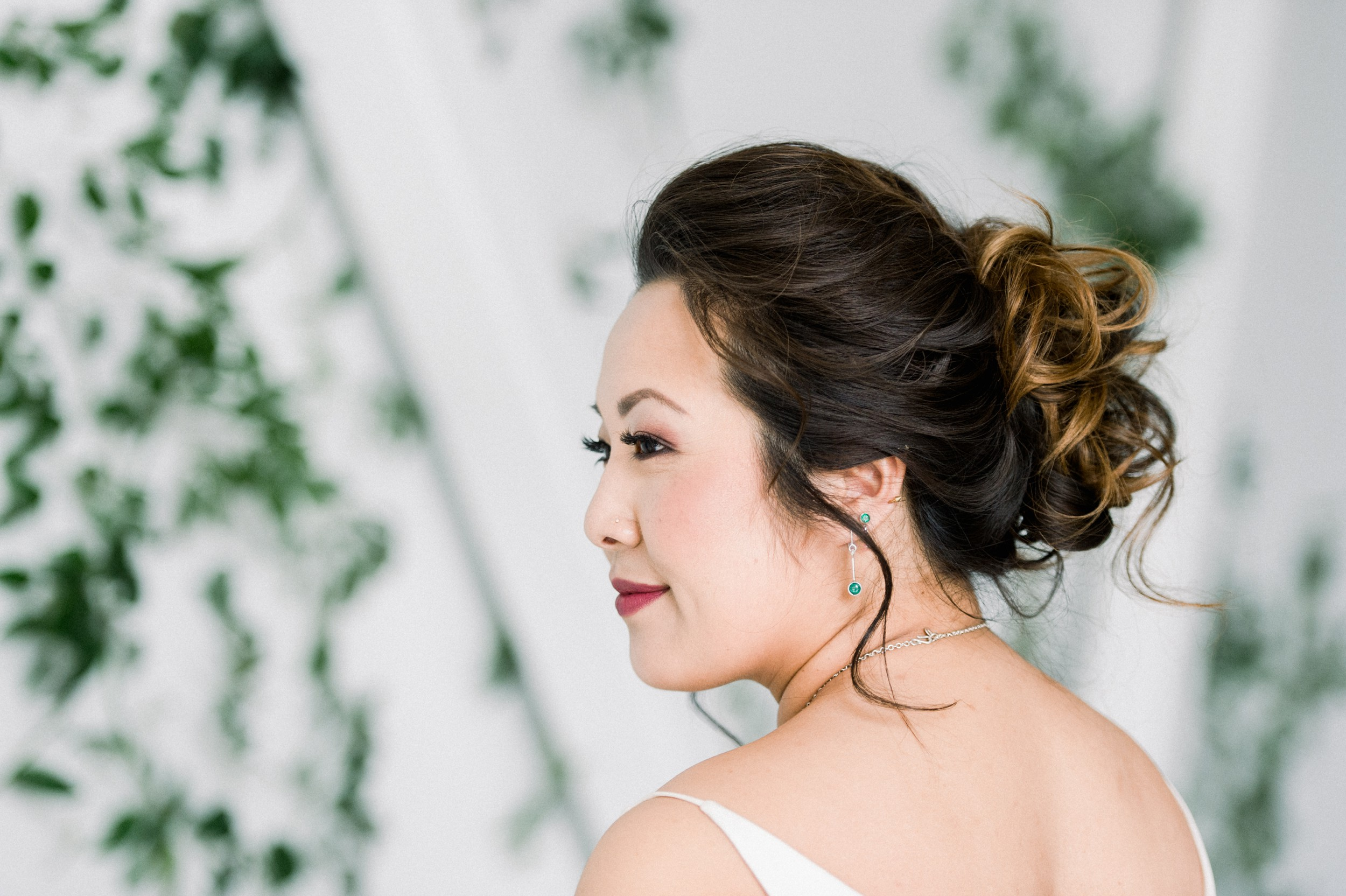 Bridal hair and makeup soft romantic with pop of color on lip | Artists for humanity wedding | Boston wedding | green botanical wedding | Bride Hair | Bride makeup