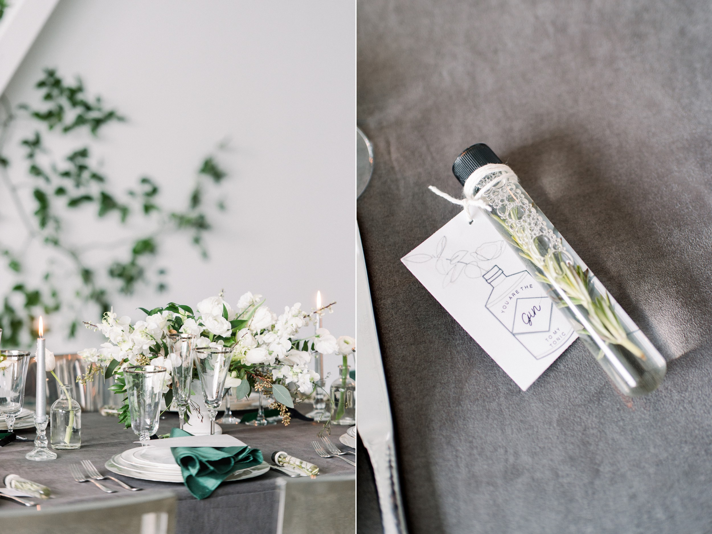 Artists for humanity epicenter wedding Boston wedding ivy feature wall modern glamour candles white floral tablescape with velvet textures rosemary infused gin and tonic wedding favor