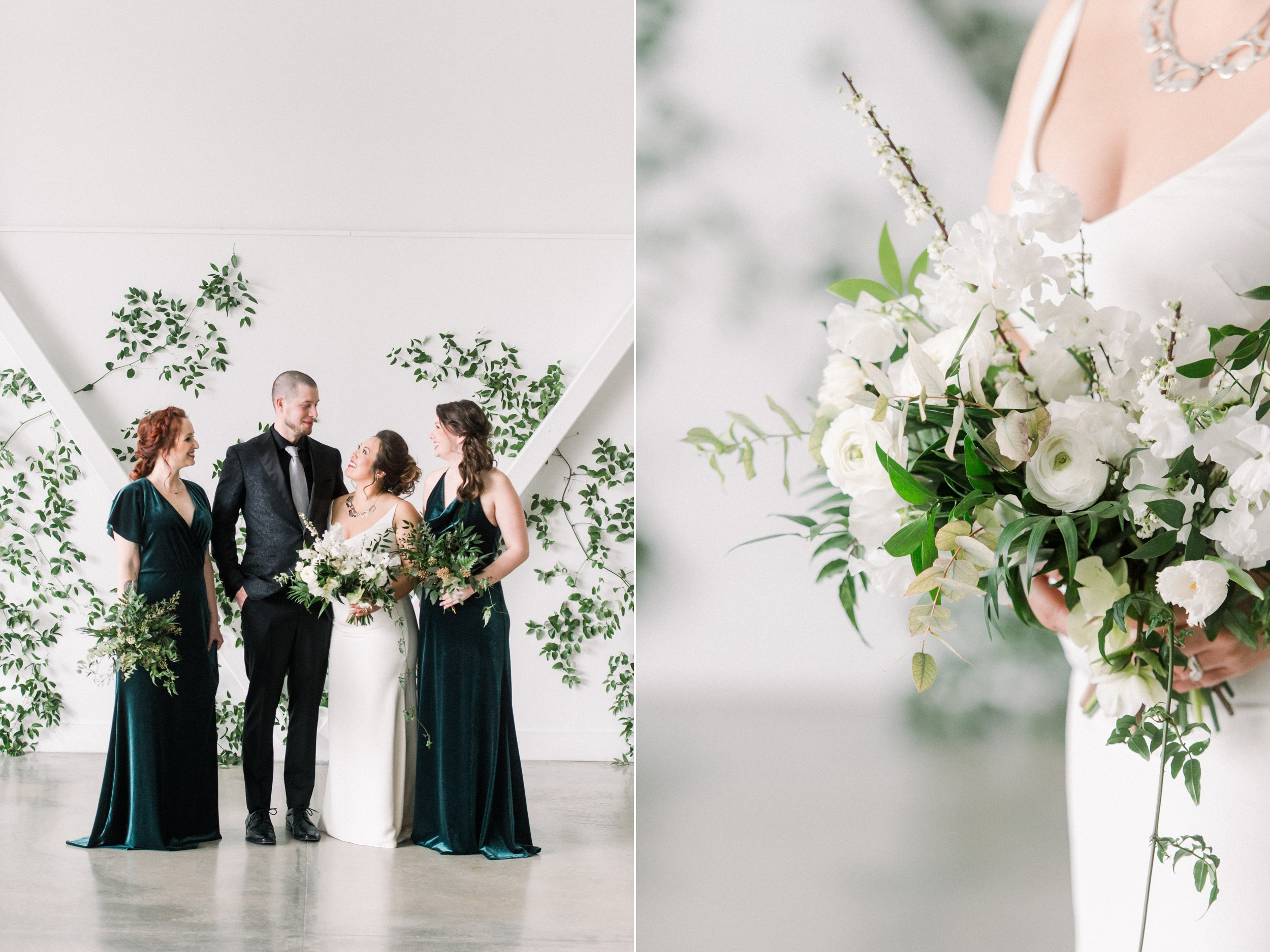 Jenny Yoo Bridesmaids Dresses green velvet | Bride Jann Marie Bridal | Groom tux Hive & Colony | Bridal Party Photos | Artists for humanity wedding | Boston wedding | green botanical wedding