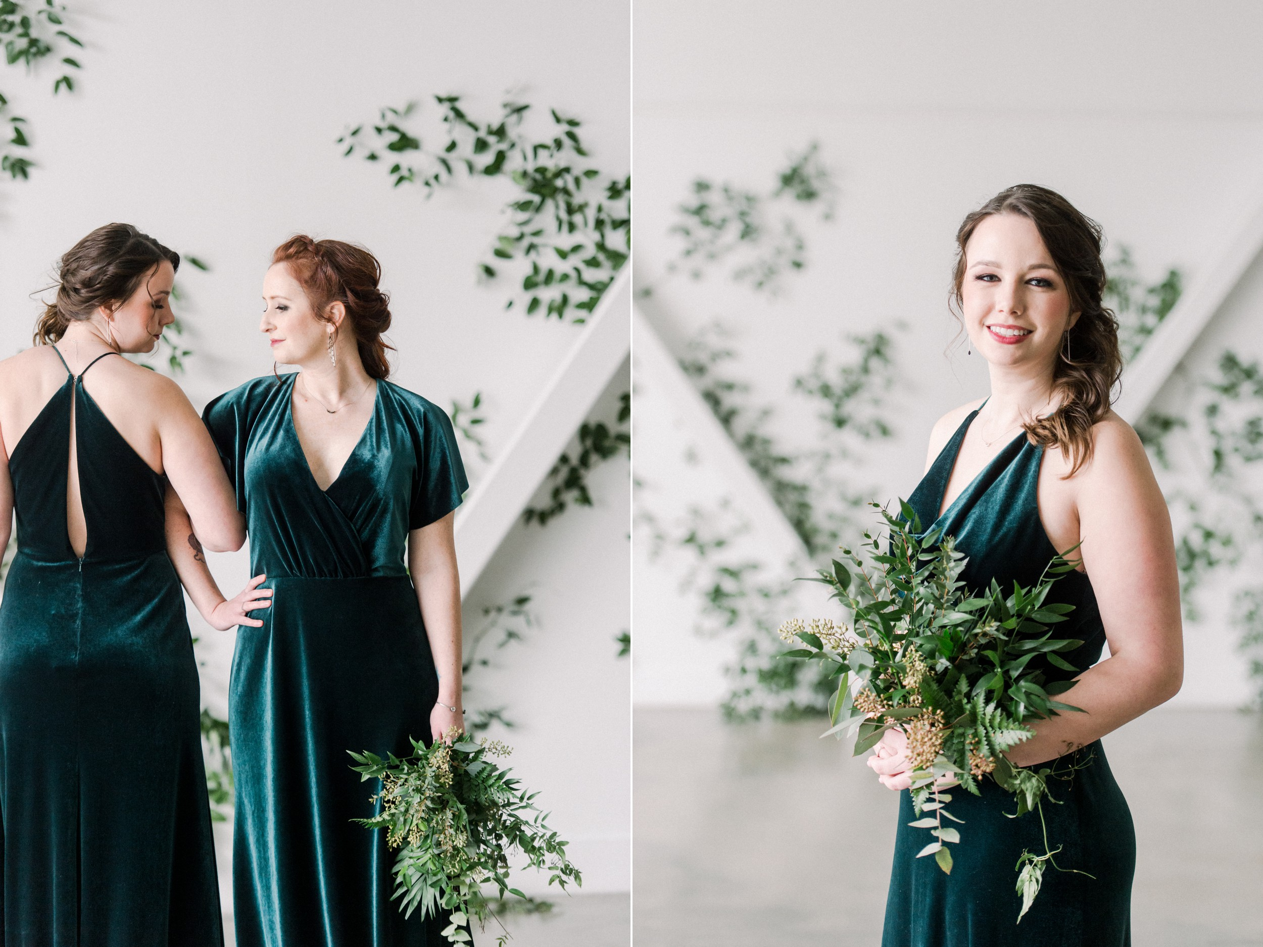 Jenny Yoo Bridesmaids Dresses in green velvet | Artists for humanity epicenter wedding | Boston wedding | green botanical wedding inspiration | bridesmaid style | green wedding inspo