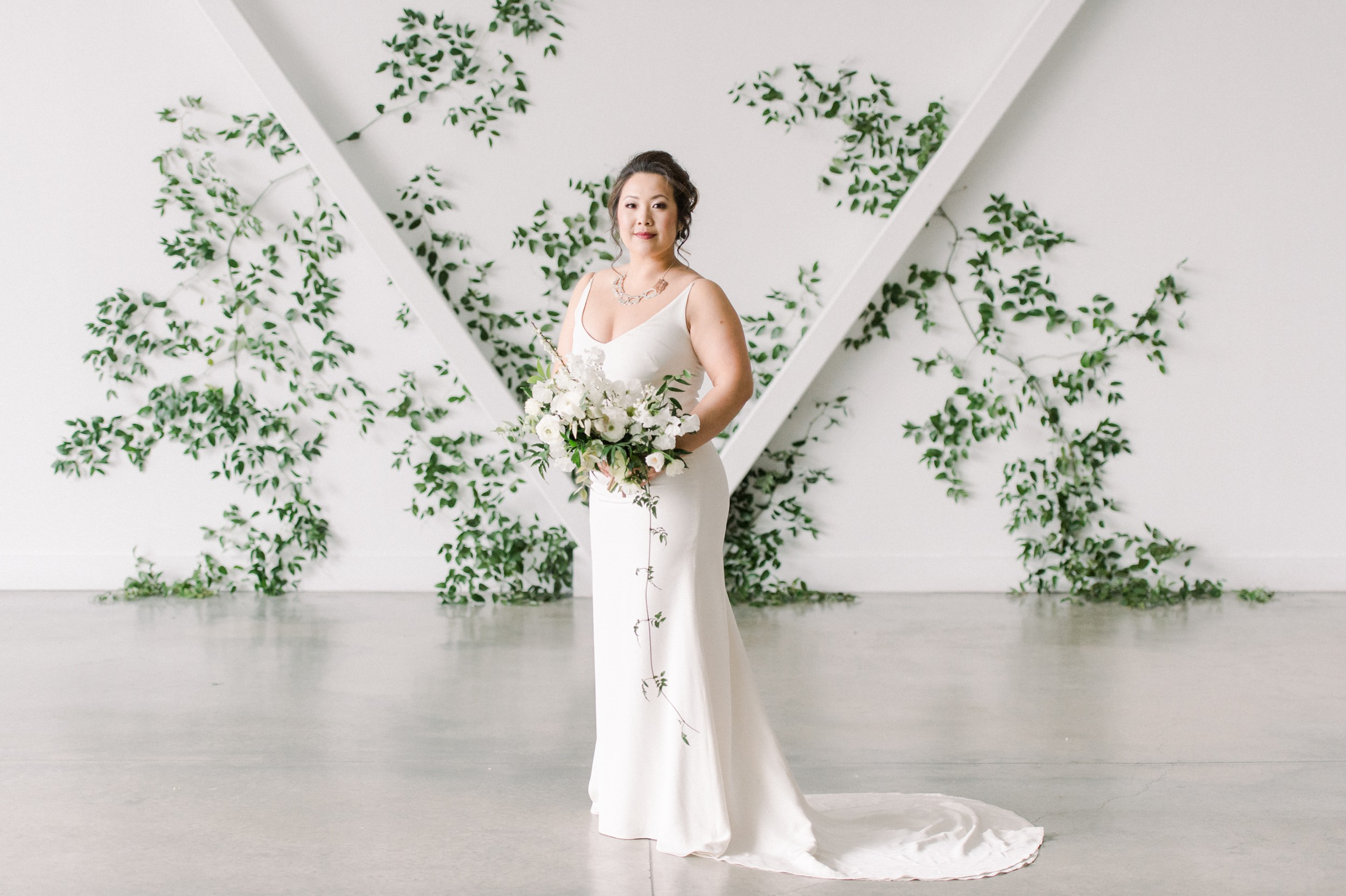 Jann Marie Bridal Wedding Dress | Artists for humanity epicenter wedding | Boston wedding | green botanical wedding inspiration | bridal style