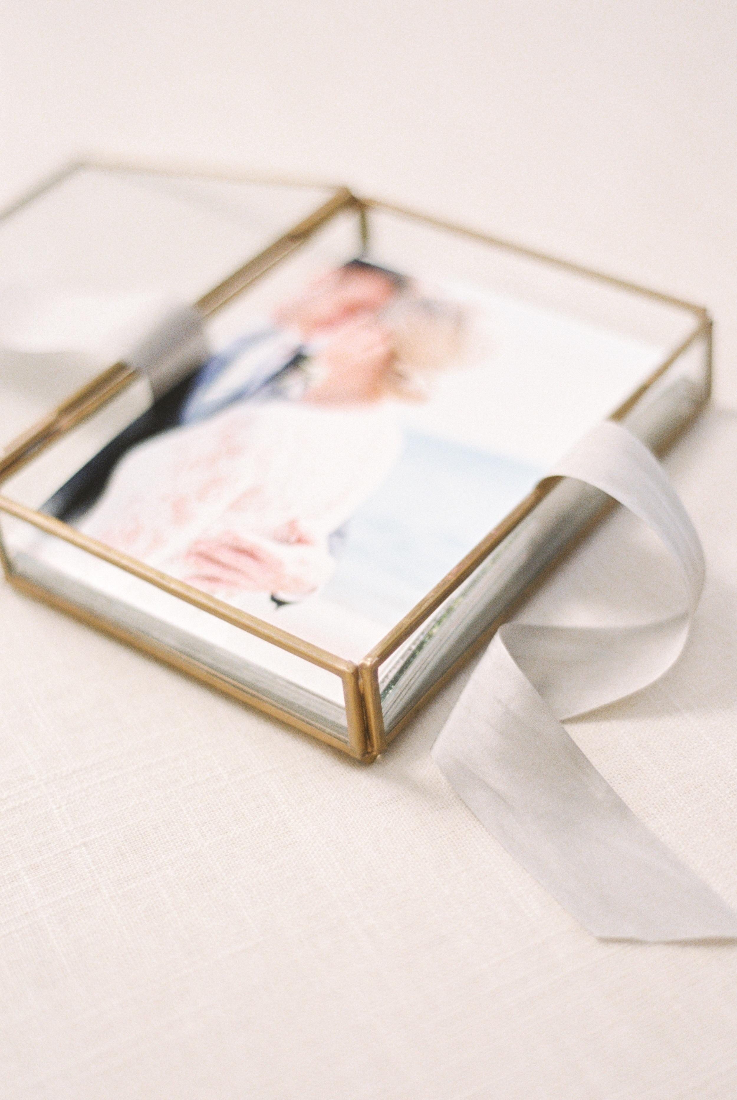 Handmade glass keepsake print box wedding day heirloom